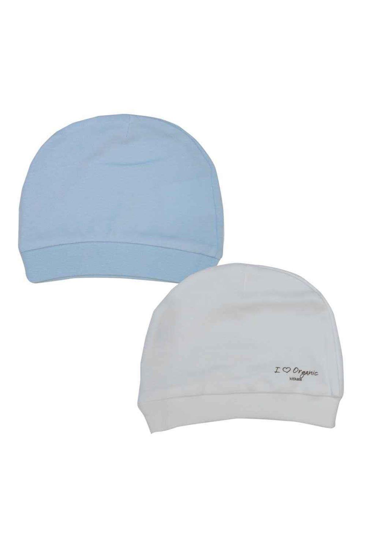 KitiKate Organik Basic 2 li Şapka 76056 Beyaz-Mavi