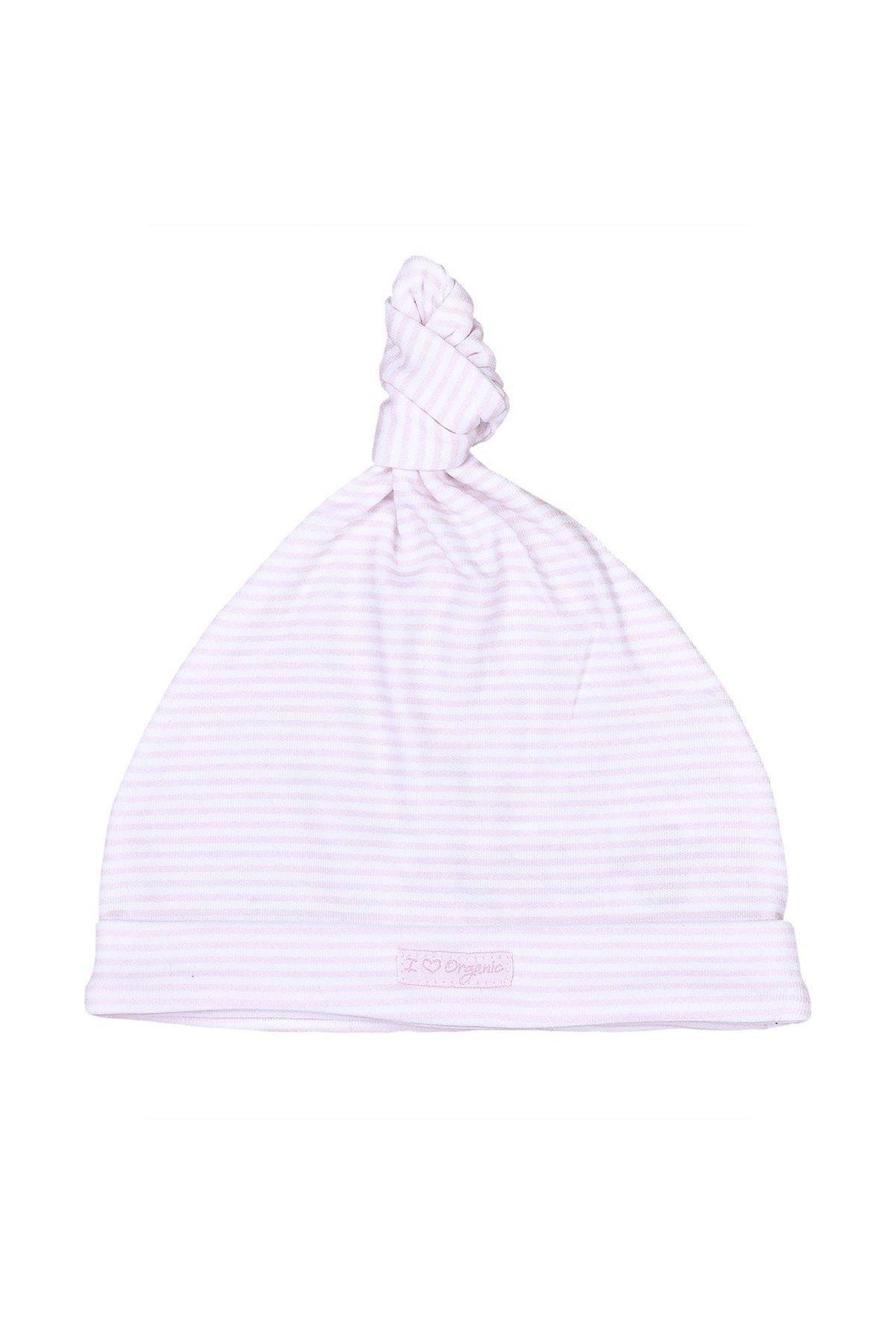KitiKate Organik Dreams Bağlamalı Şapka 15928 Pembe Çizgili
