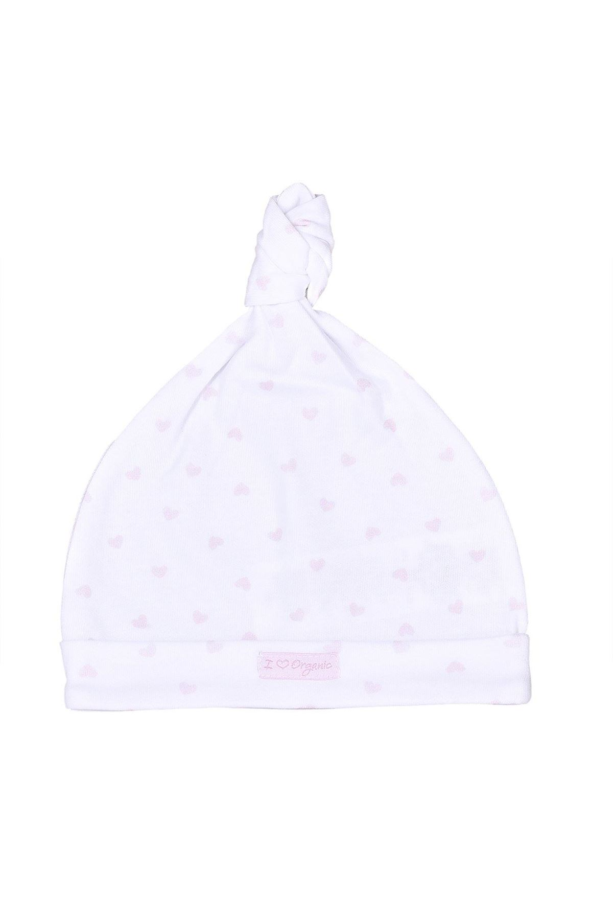 KitiKate Organik Dreams Bağlamalı Şapka 15928 Pembe Kalp