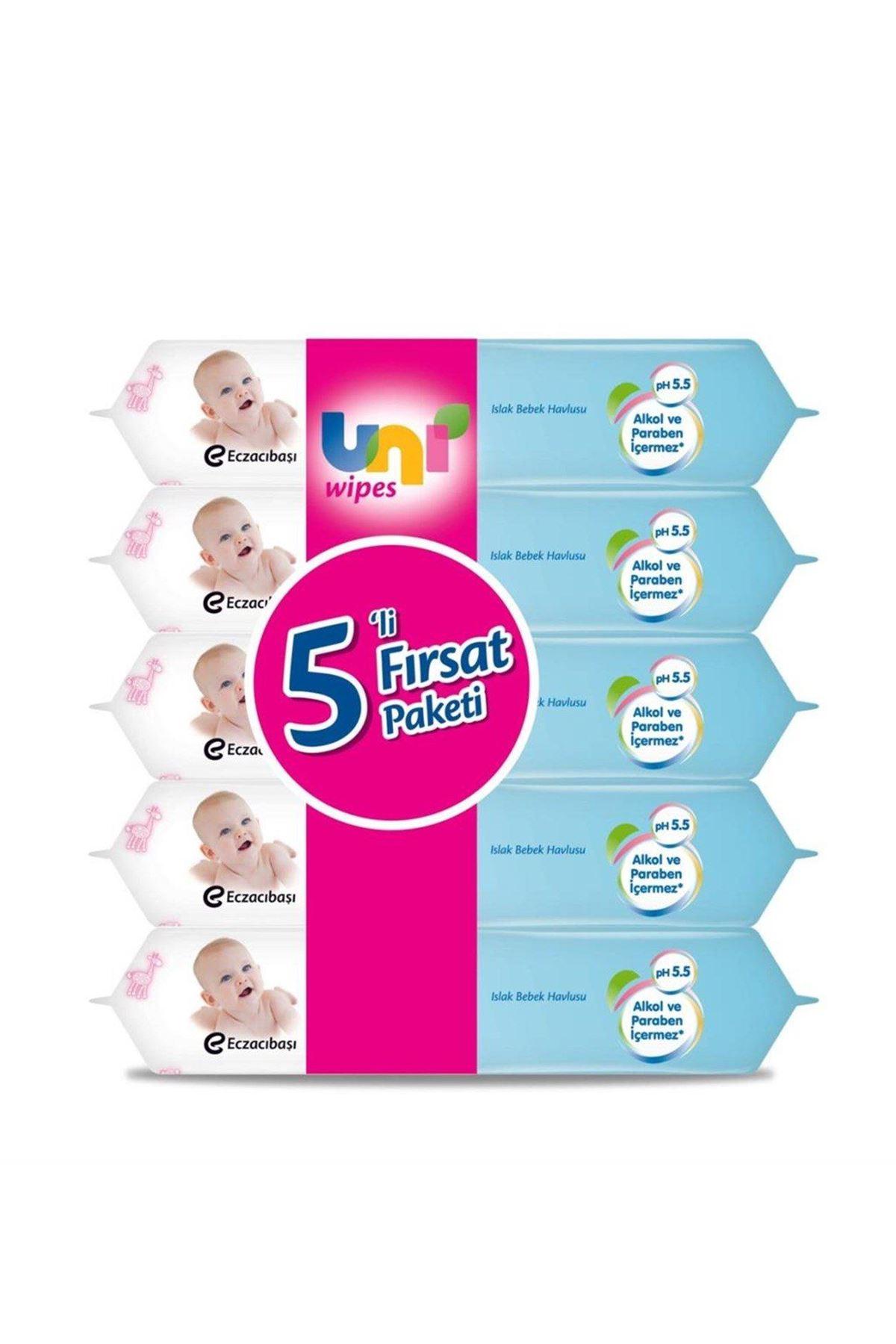 Uni Baby Classic Islak Havlu Mendil 5 li Süper Paket 5x56