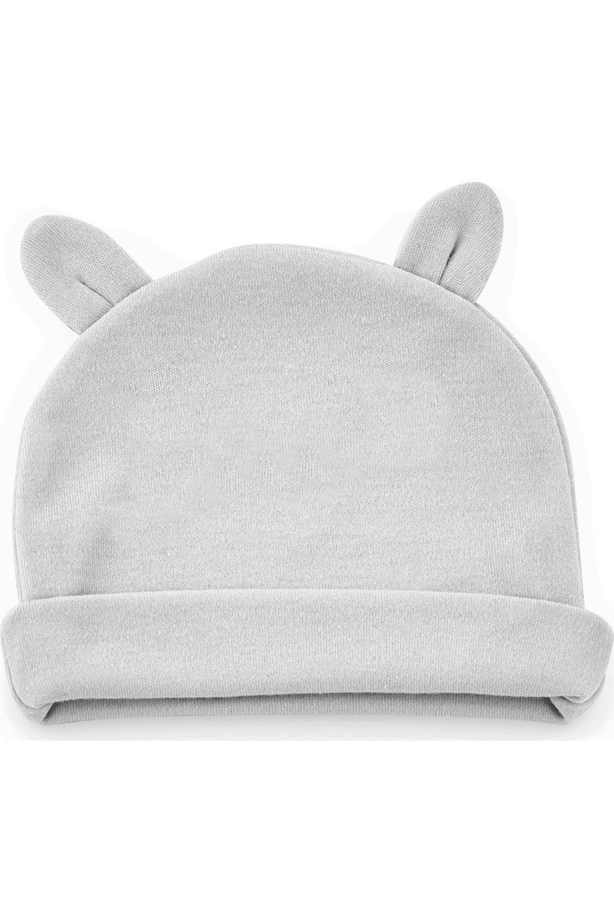 BabyJem Yenidoğan Bebe Şapka Kulaklı 585 Gri