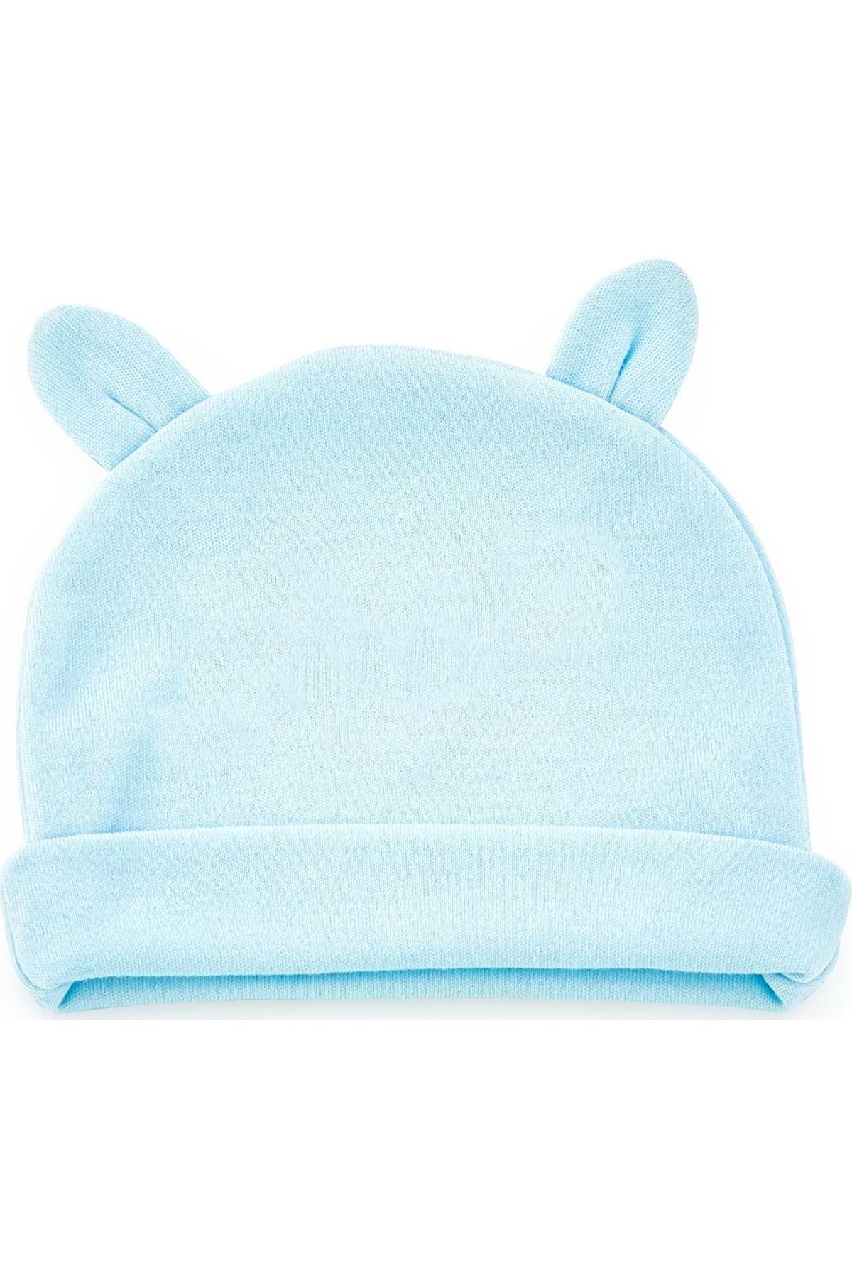 BabyJem Yenidoğan Bebe Şapka Kulaklı 585 Mavi