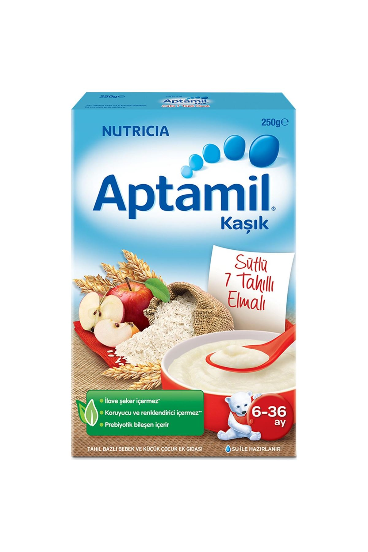 Aptamil Kaşık Sütlü 7 Tahıllı Elmalı Kaşık Maması 250 Gr