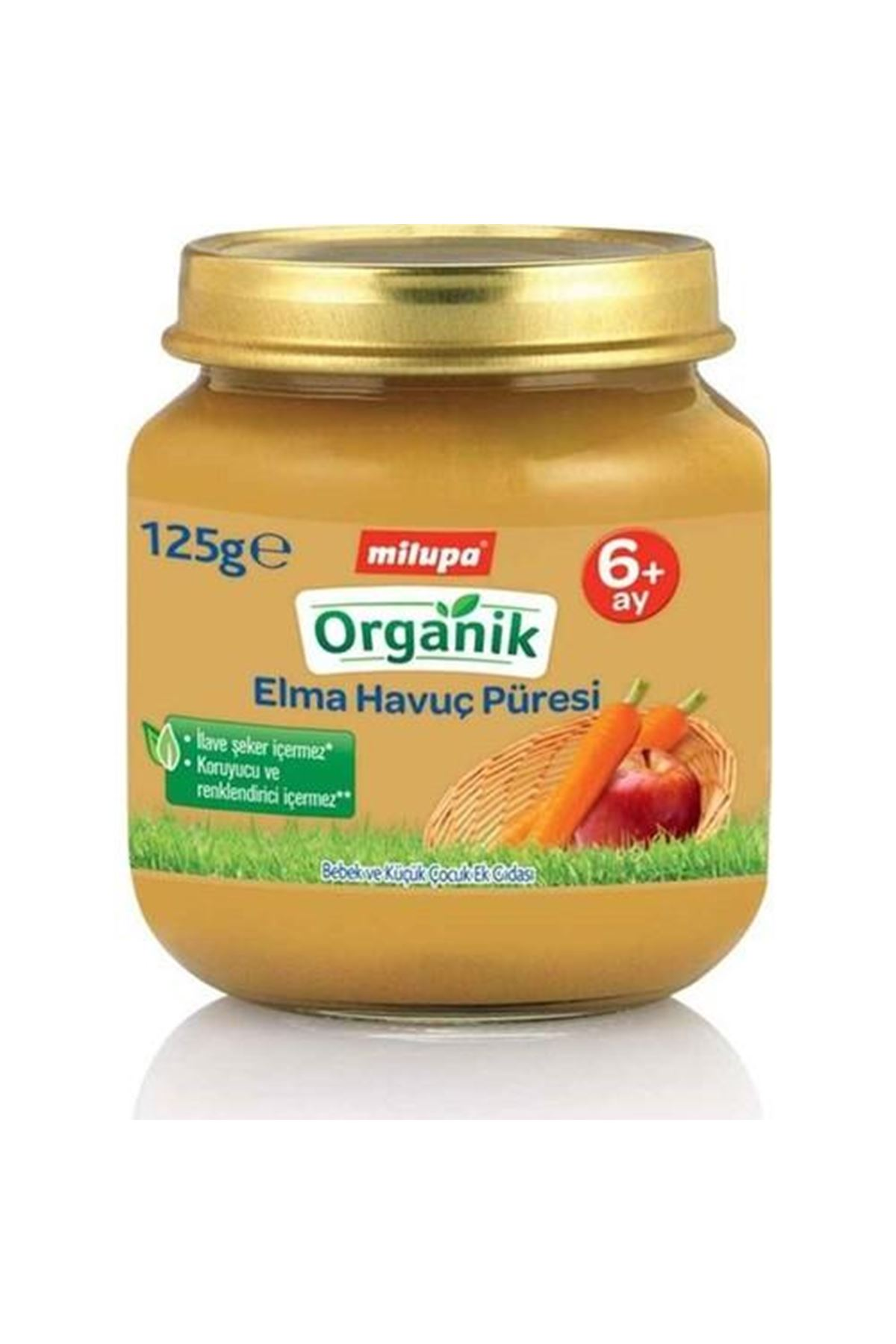 Milupa Organik Elma Havuç Püreli Kavanoz Maması 125 Gr