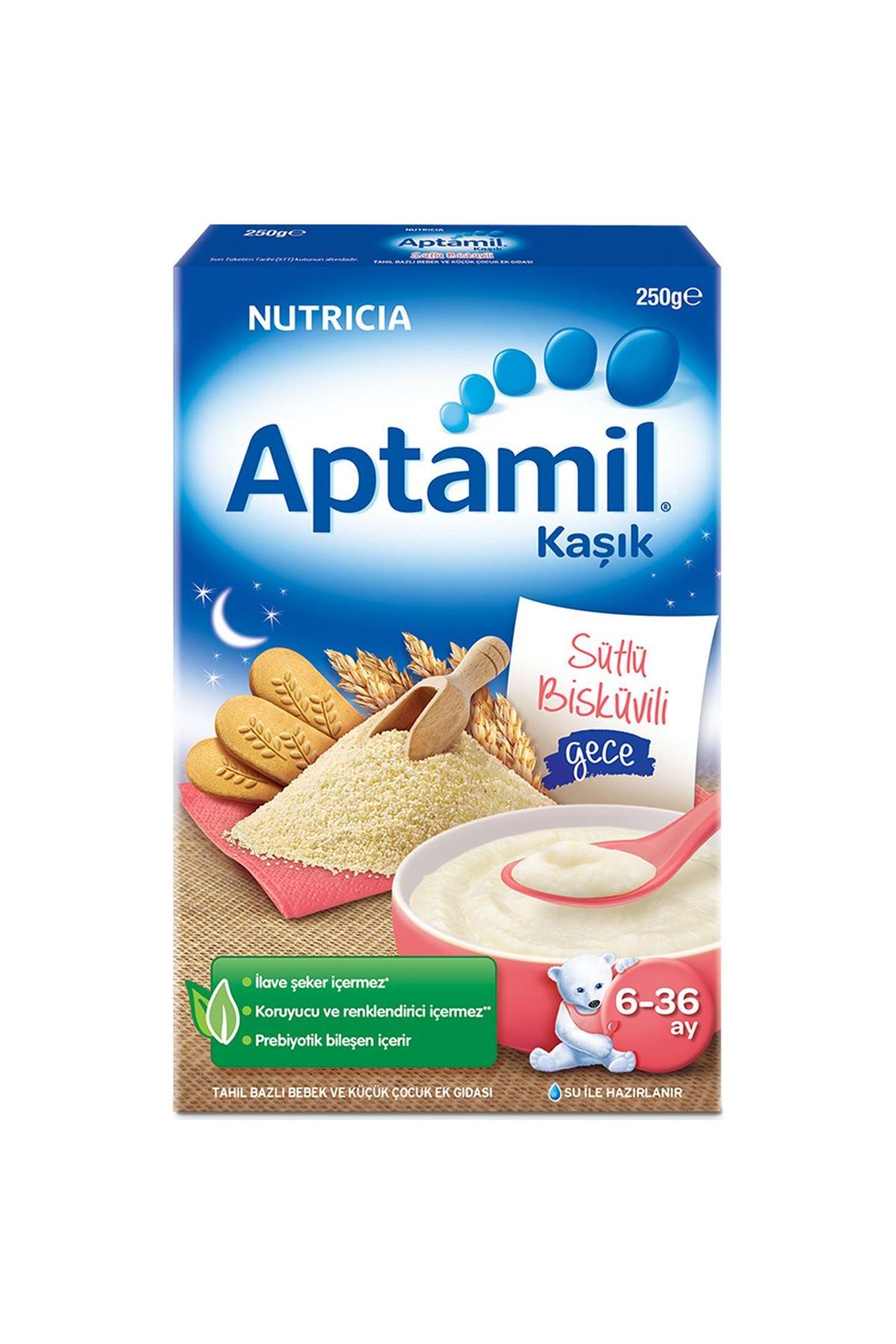 Aptamil Kaşık Sütlü Bisküvili Gece Kaşık Maması 250 Gr