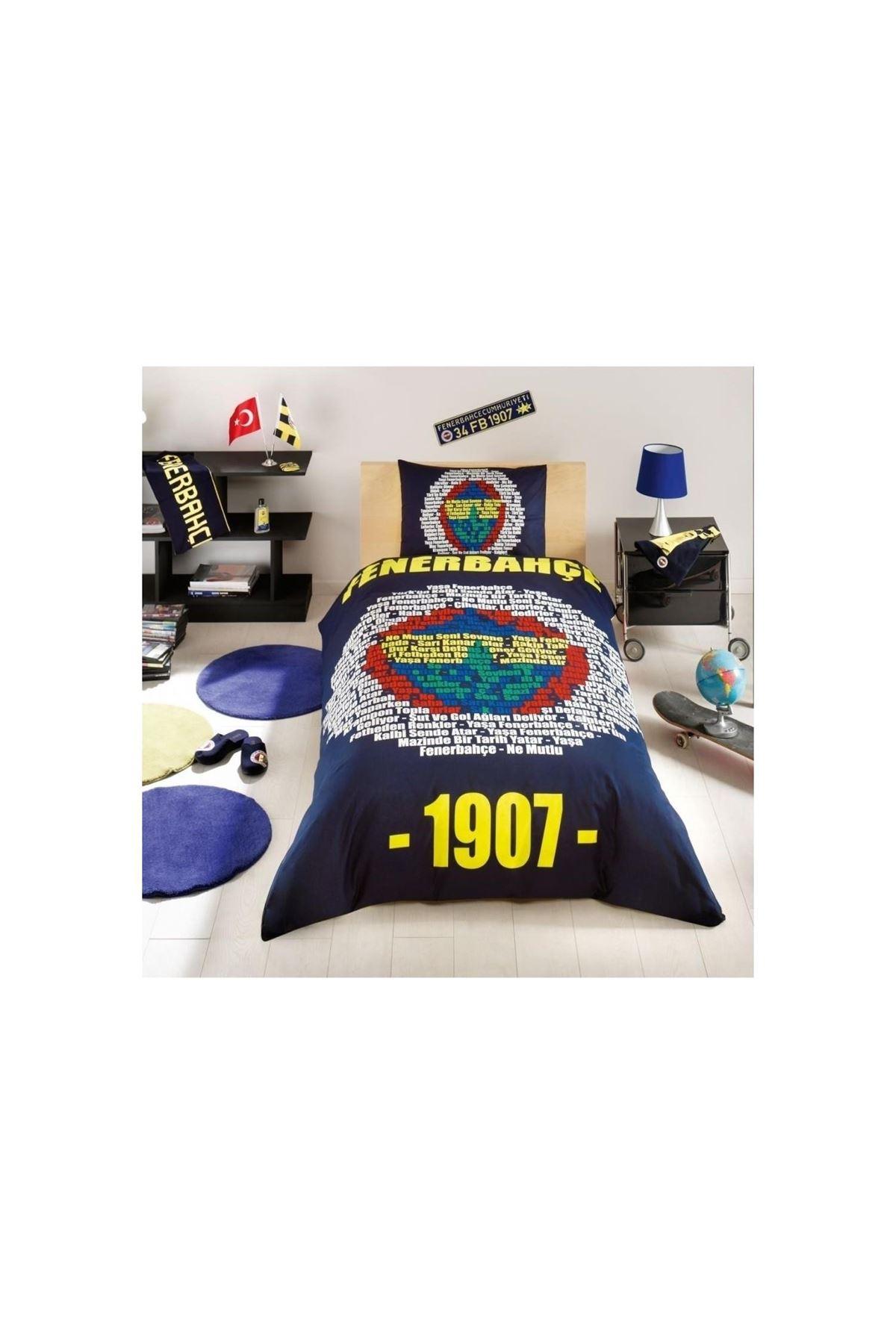 Taç Lisanslı Nevresim Takımı Tek Kişilik Fenerbahçe Marşlı Logo