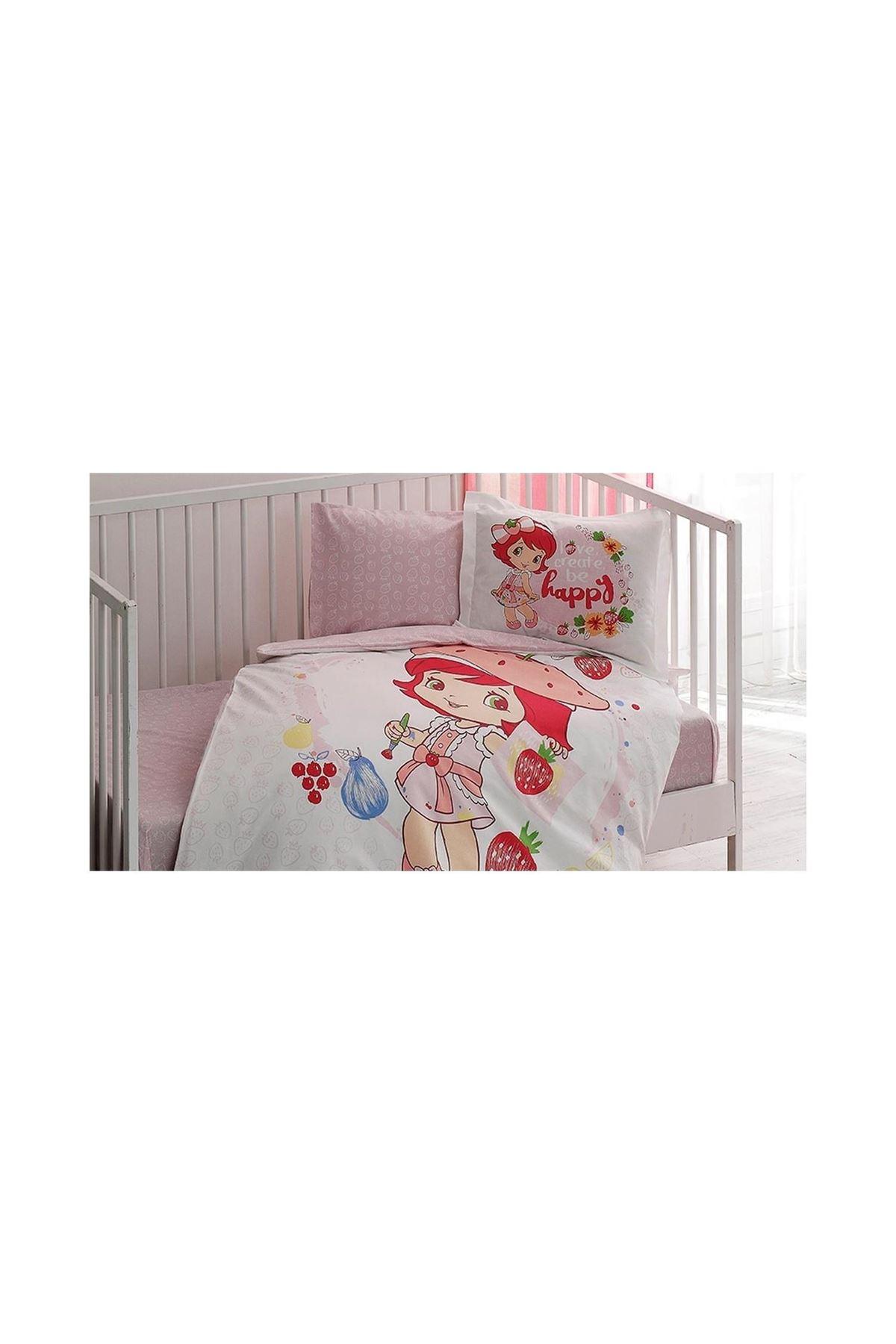Taç Lisanslı Bebek Nevresim Takımı S.Shortcake Paint Baby