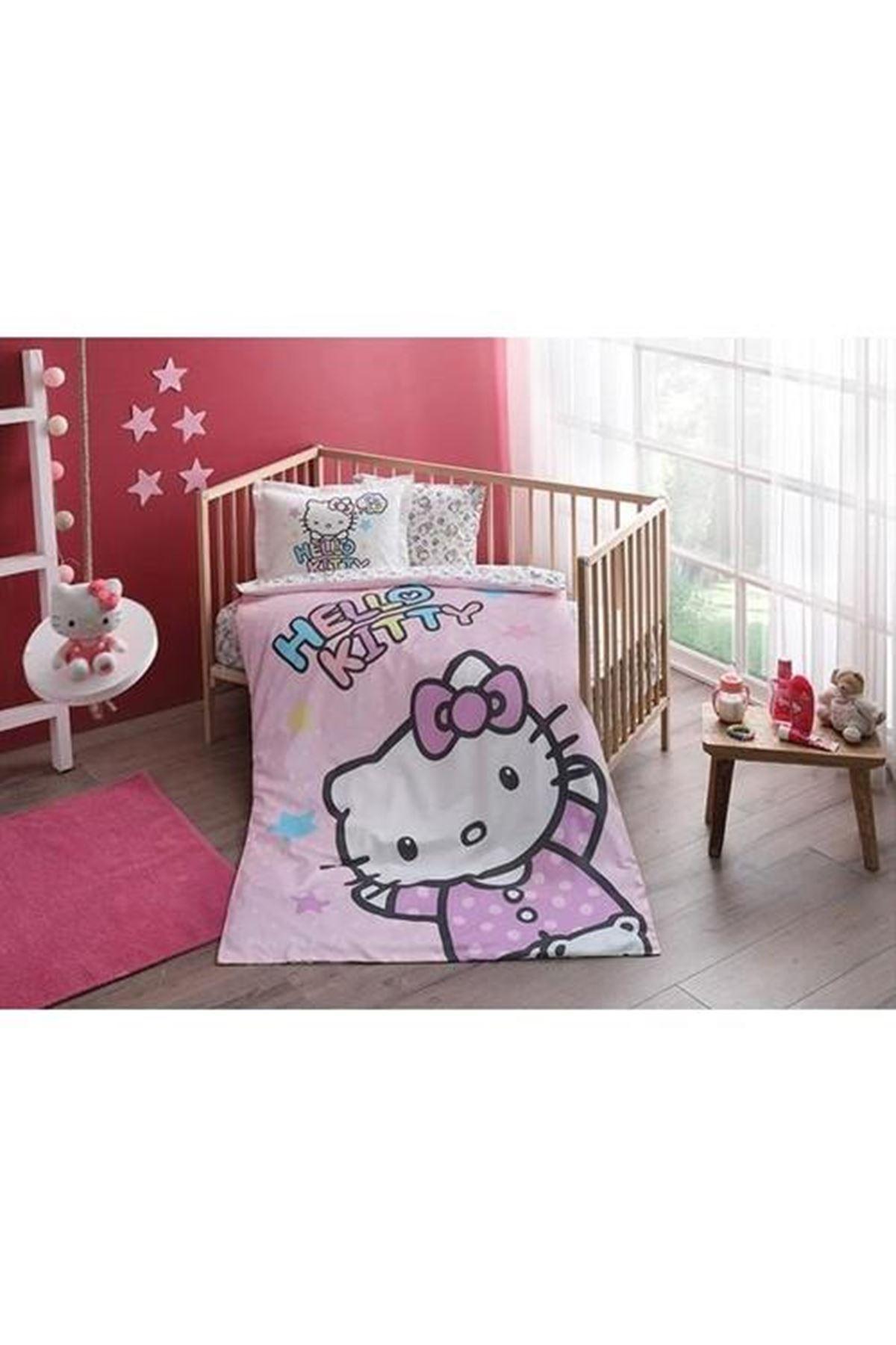 Taç Lisanslı Bebek Nevresim Takımı Hello Kitty Baby