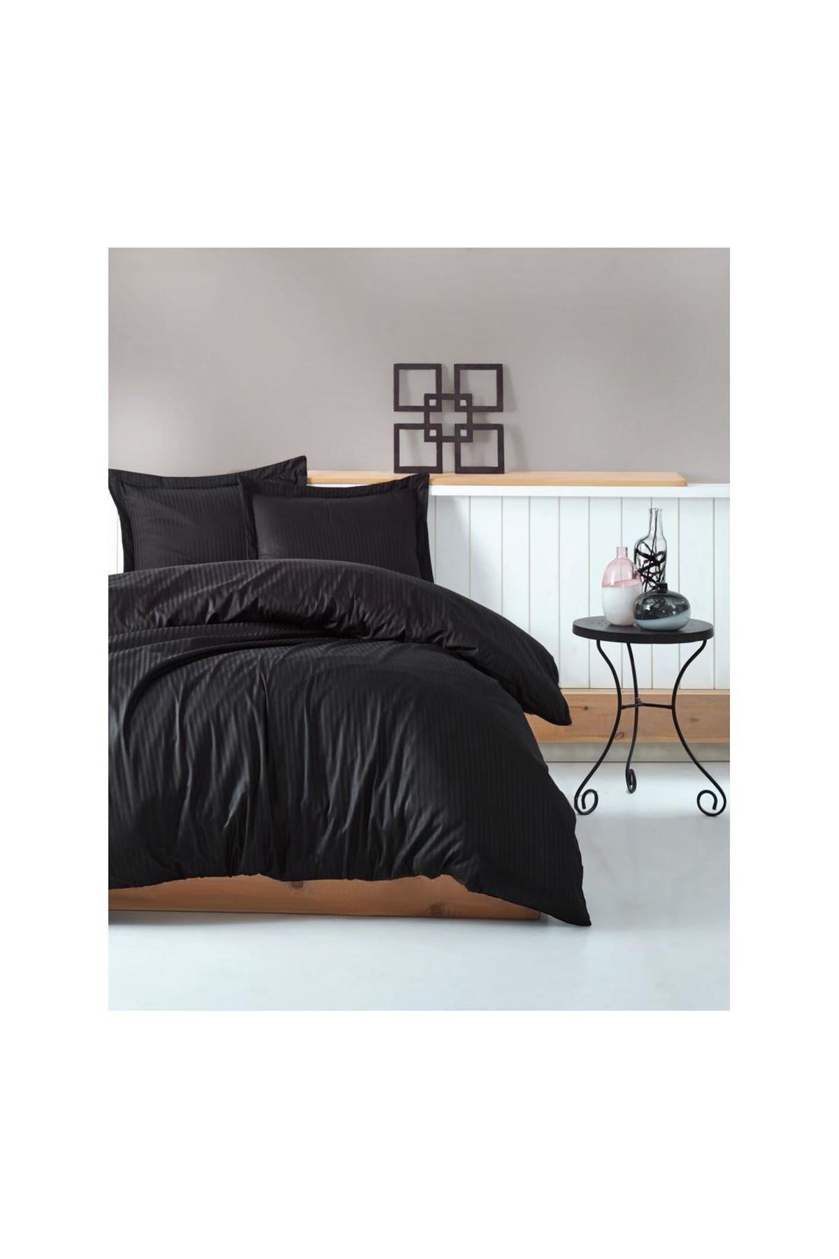 Cotton Box Elegant Stripe Saten Nevresim Takımı Çift Kişilik Siyah