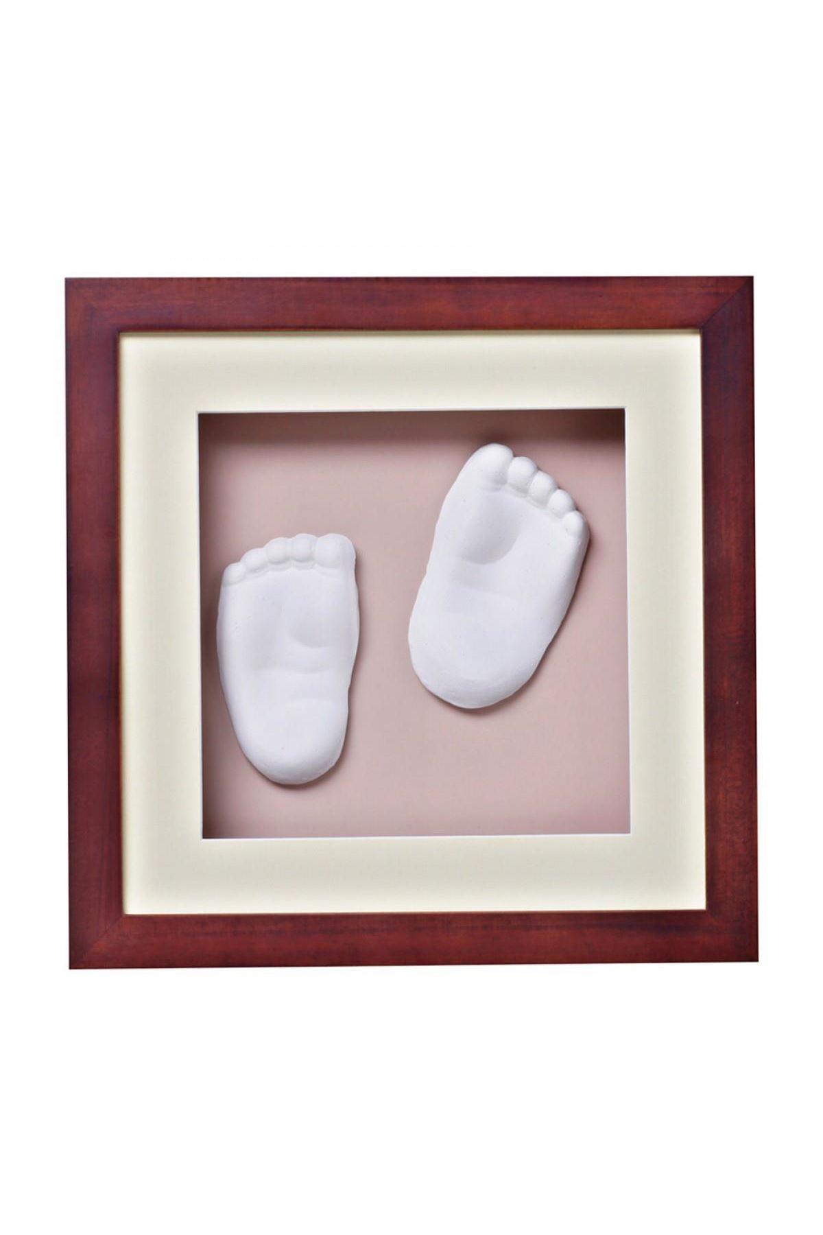 Baby Memory Prints El ve Ayak İzi 3D Çerçeve Ceviz
