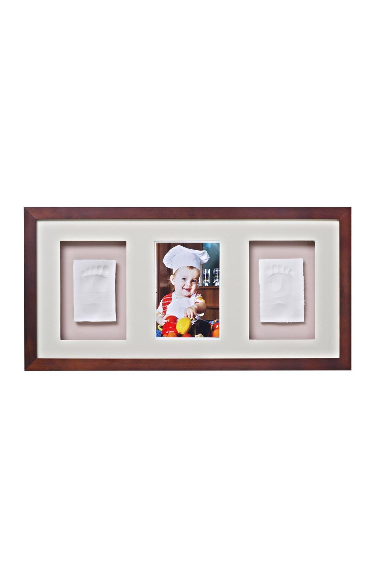 Baby Memory Prints Trio El ve Ayak İzi 3lü Çerçeve Ceviz