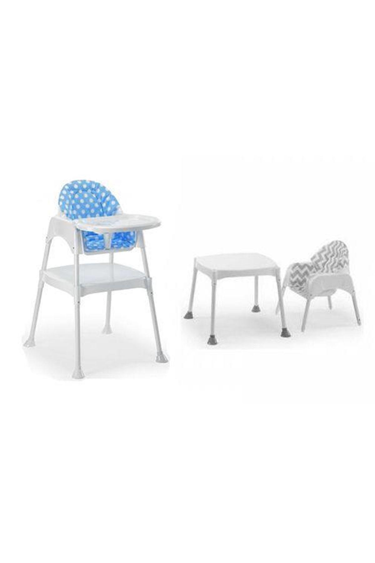 Moje Çalışma Masalı Portatif Mama Sandalyesi (Minderli Set) Mavi