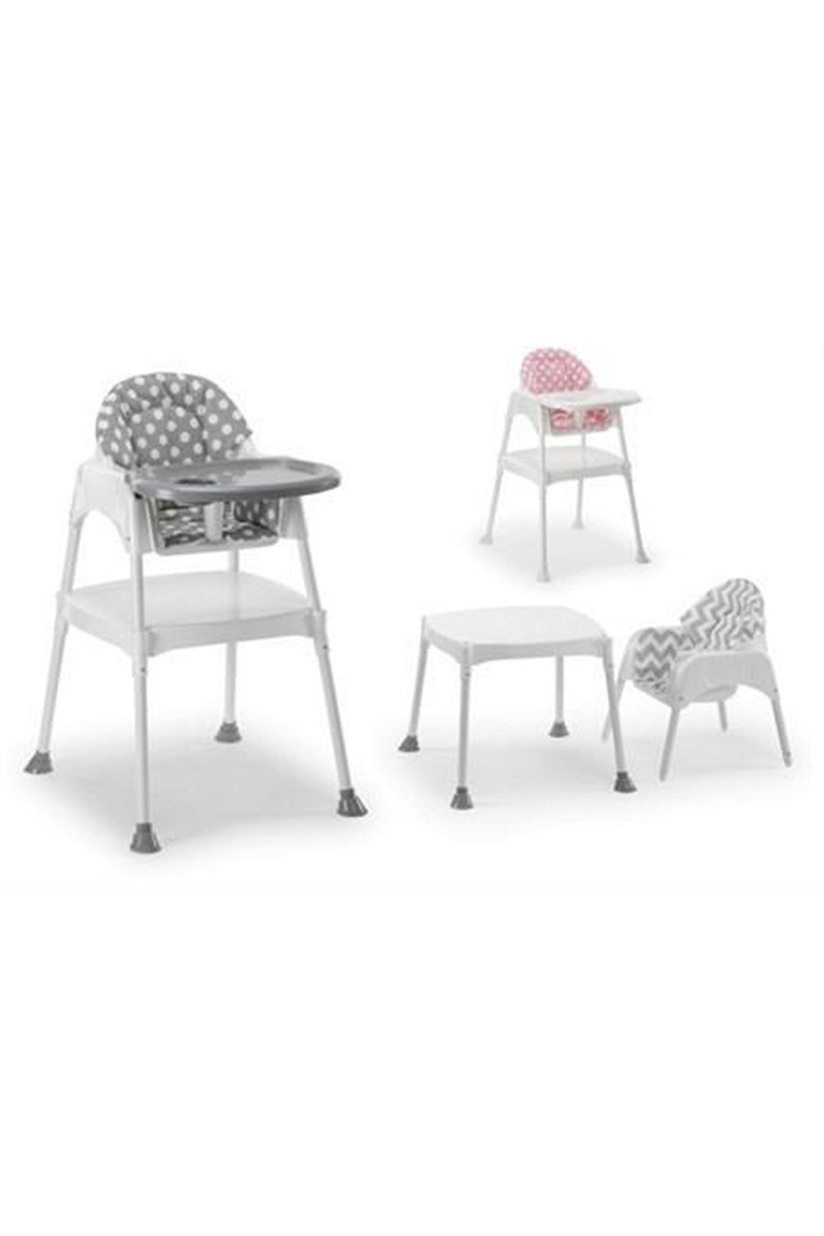 Moje Çalışma Masalı Portatif Mama Sandalyesi (Minderli Set) Gri