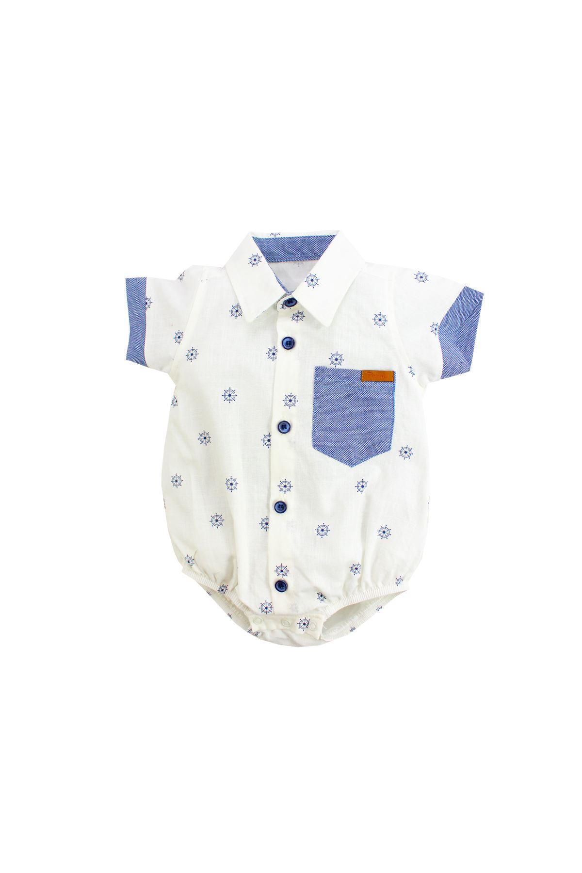 Picossa Gömlek Body, Normal Yaka, Dümen Desenli, Beyaz, PCS114