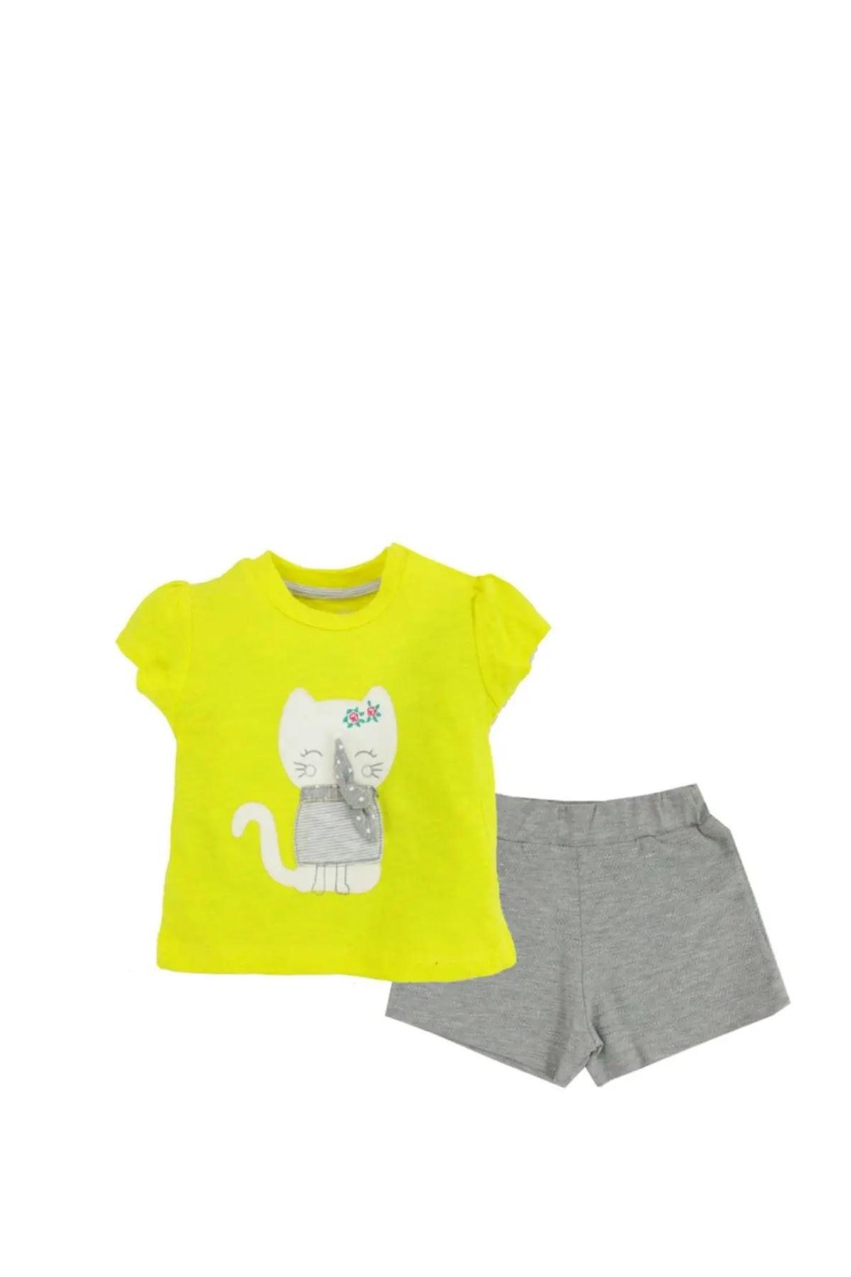Tongs Baby, Şirin Kedicik Desenli, Şortlu 2' li Takım, 2554T Sarı