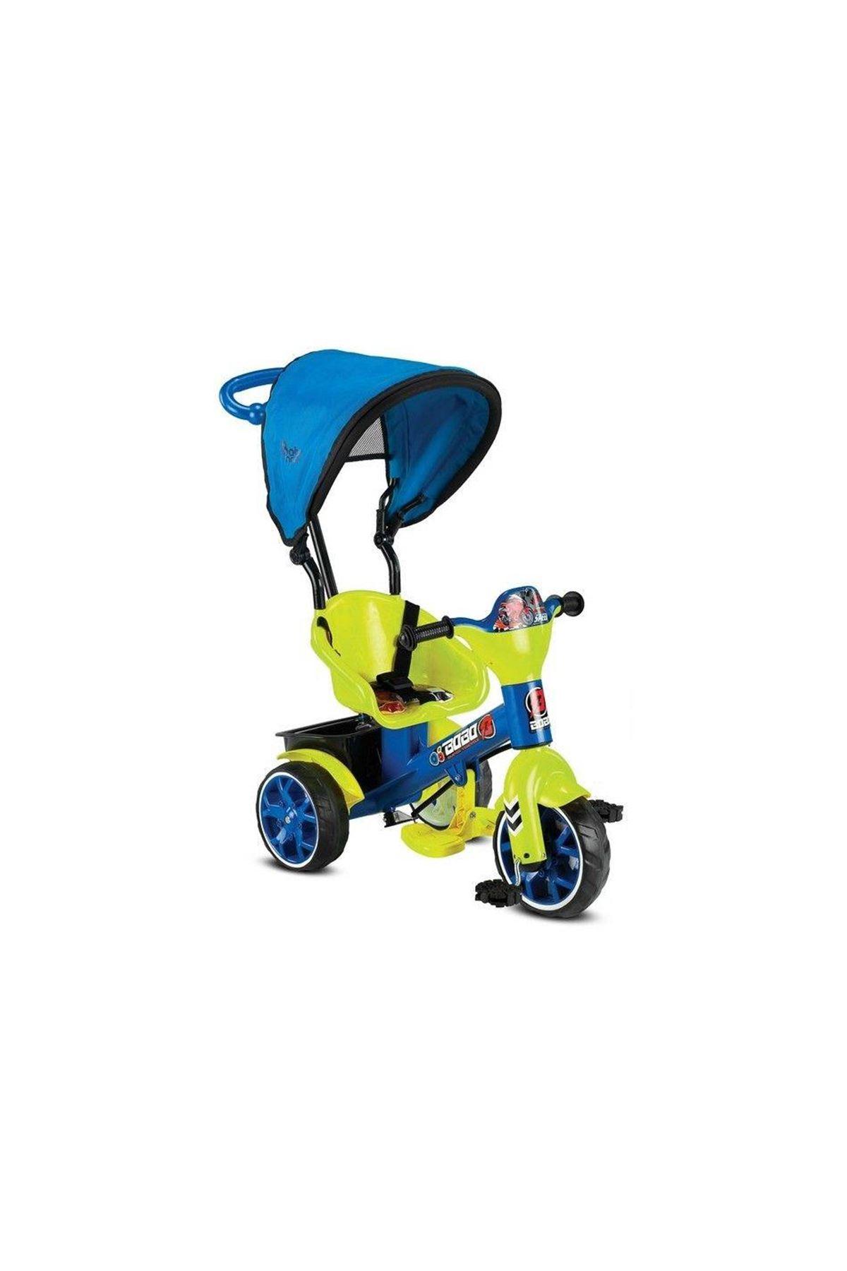 Babyhope 121 Bobo Speed Tenteli 3 Tekerli Kontrollü Bisiklet Sarı Mavi