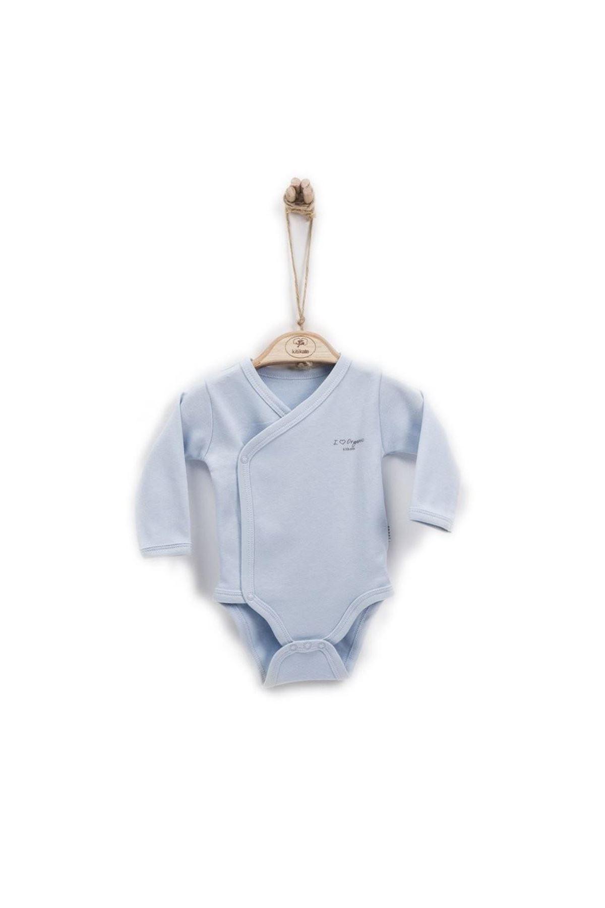 KitiKate Organik Basic Kruvaze Uzun Kol Body 77268 Mavi