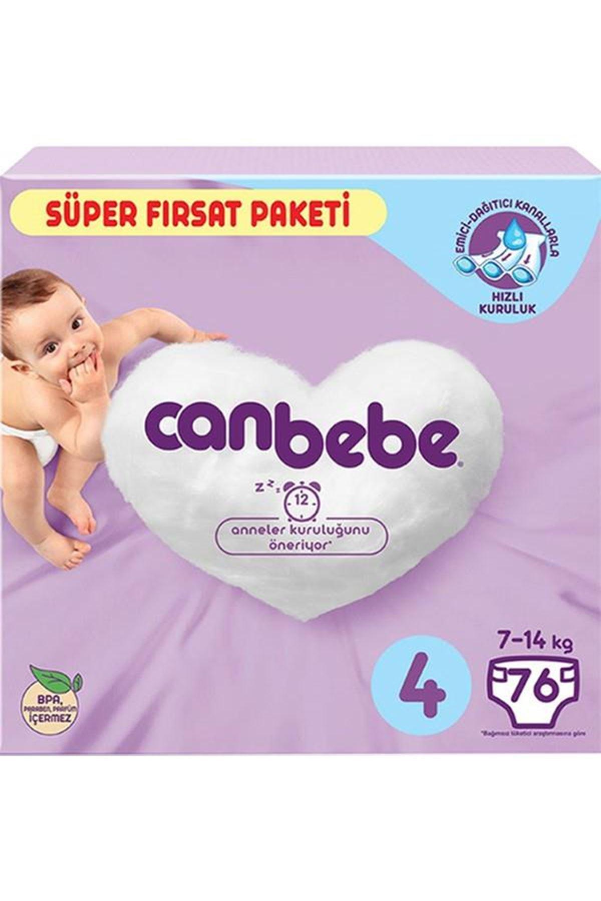 Canbebe Bebek Bezi Süper Fırsat Paketi 4 Beden 7-14 Kg 76 Adet