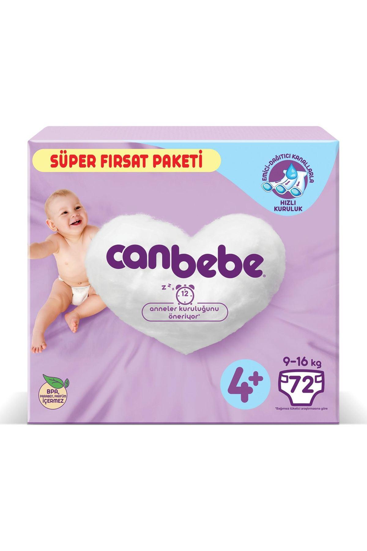 Canbebe Bebek Bezi Süper Fırsat Paketi 4+ Beden 9-16 Kg 72 Adet