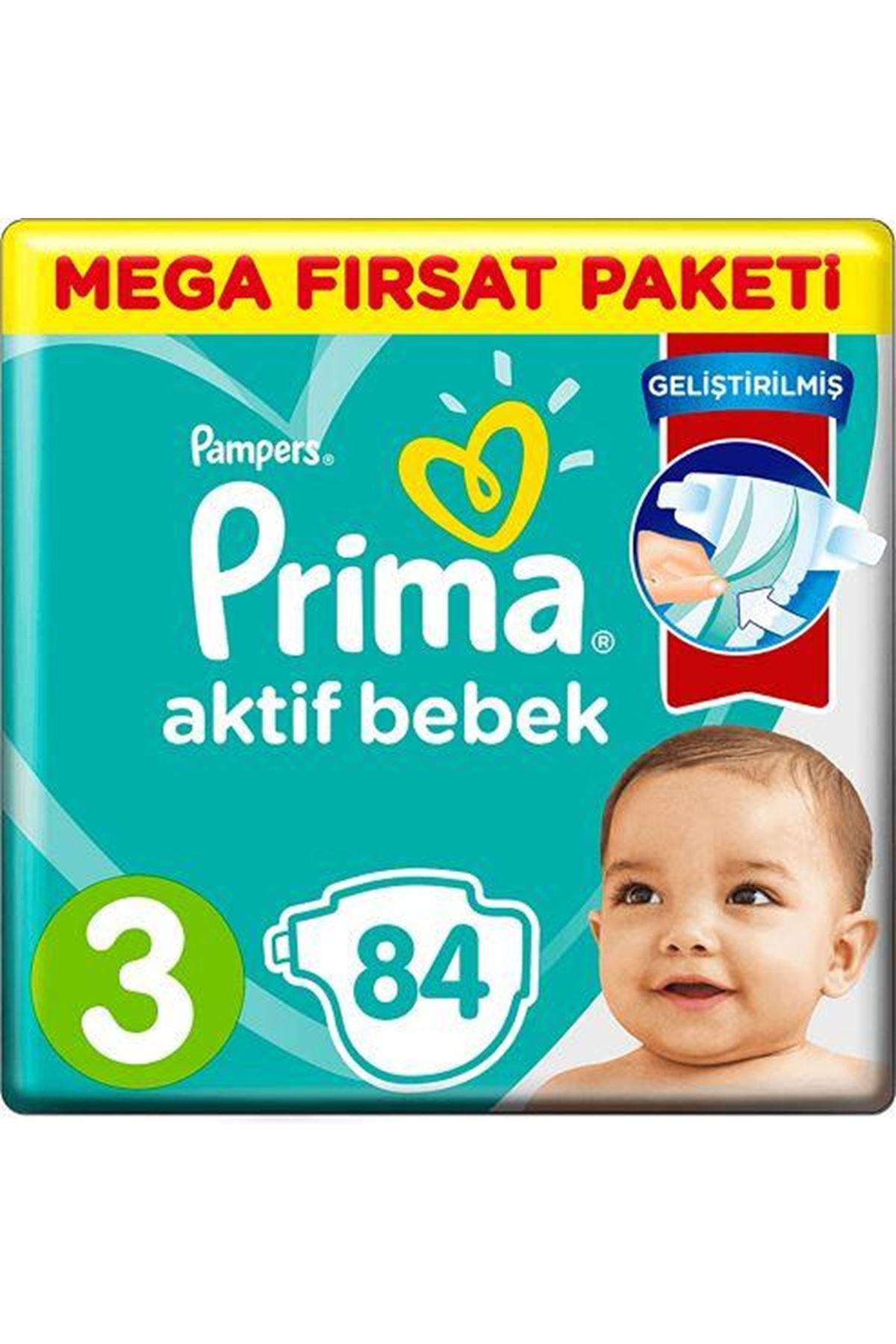 Prima Bebek Bezi Aktif Bebek Mega Fırsat Paketi 3 Beden 84 Adet