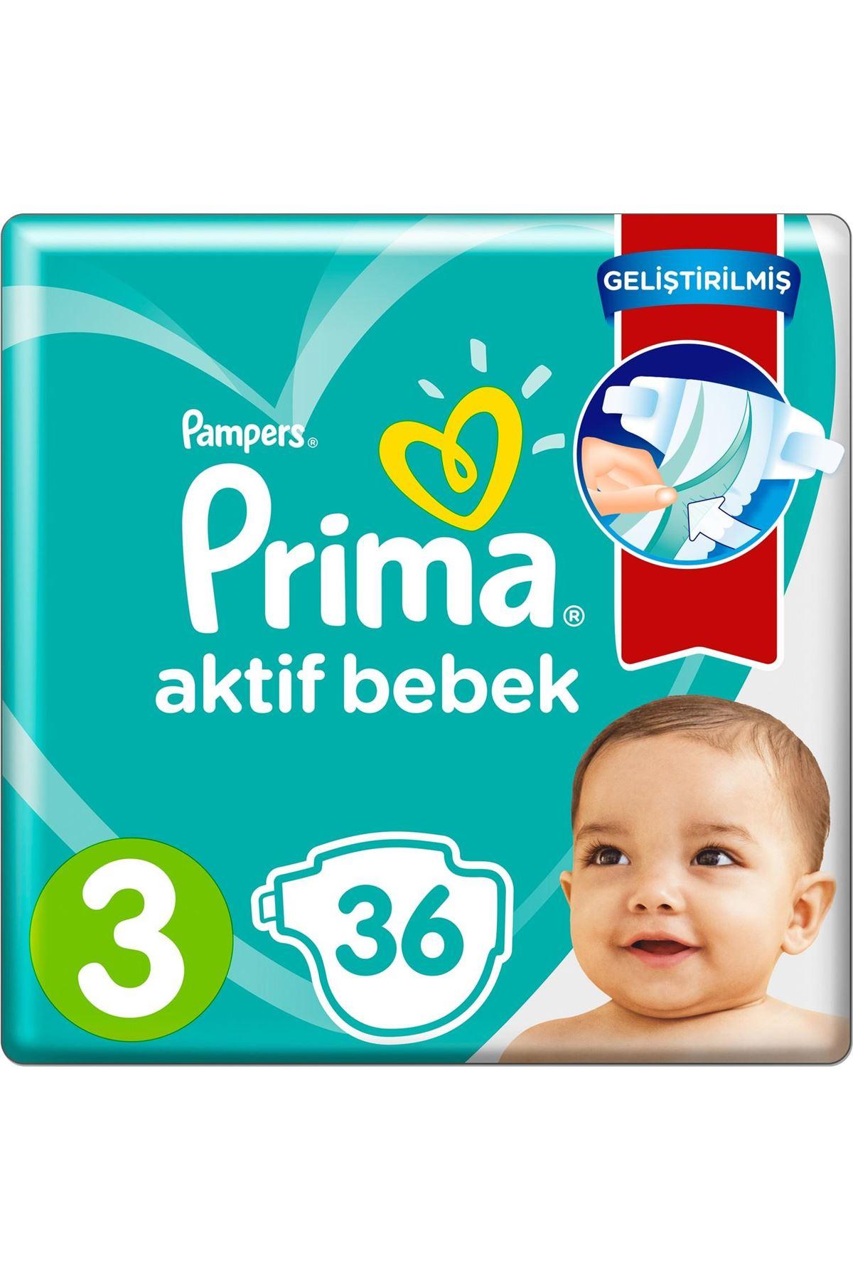 Prima Bebek Bezi Aktif Bebek Standart Paket 3 Beden 36 Adet