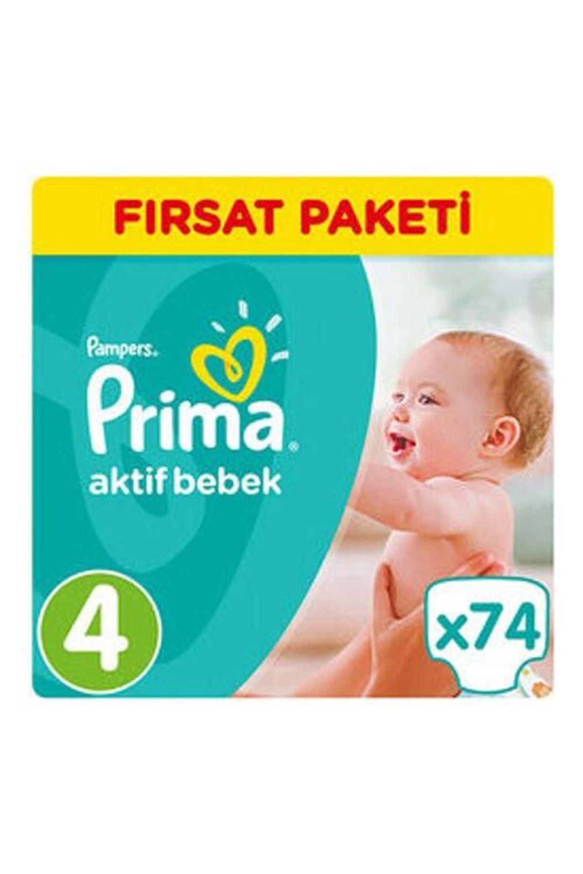 Prima Bebek Bezi Aktif Bebek Mega Fırsat Paketi 4 Beden 74 Adet