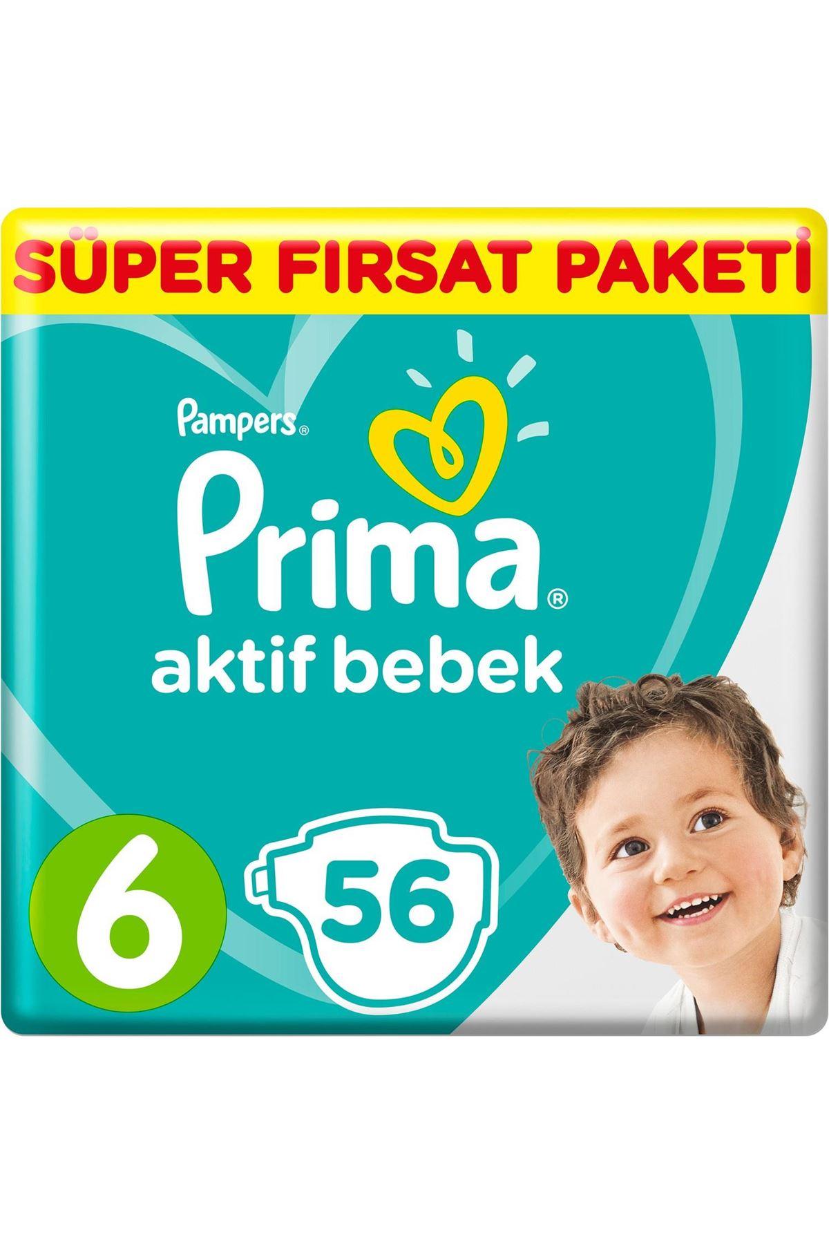 Prima Bebek Bezi Aktif Bebek Mega Fırsat Paketi 6 Beden 56 Adet