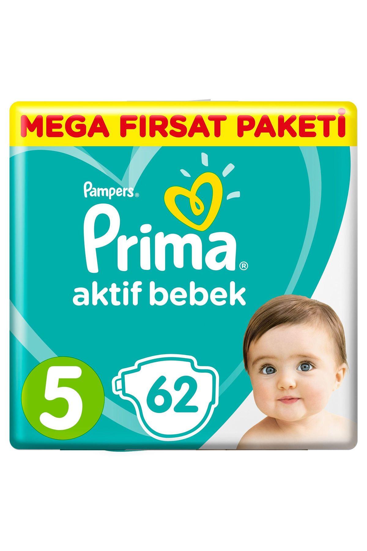 Prima Bebek Bezi Aktif Bebek Mega Fırsat Paketi 5 Beden 62 Adet