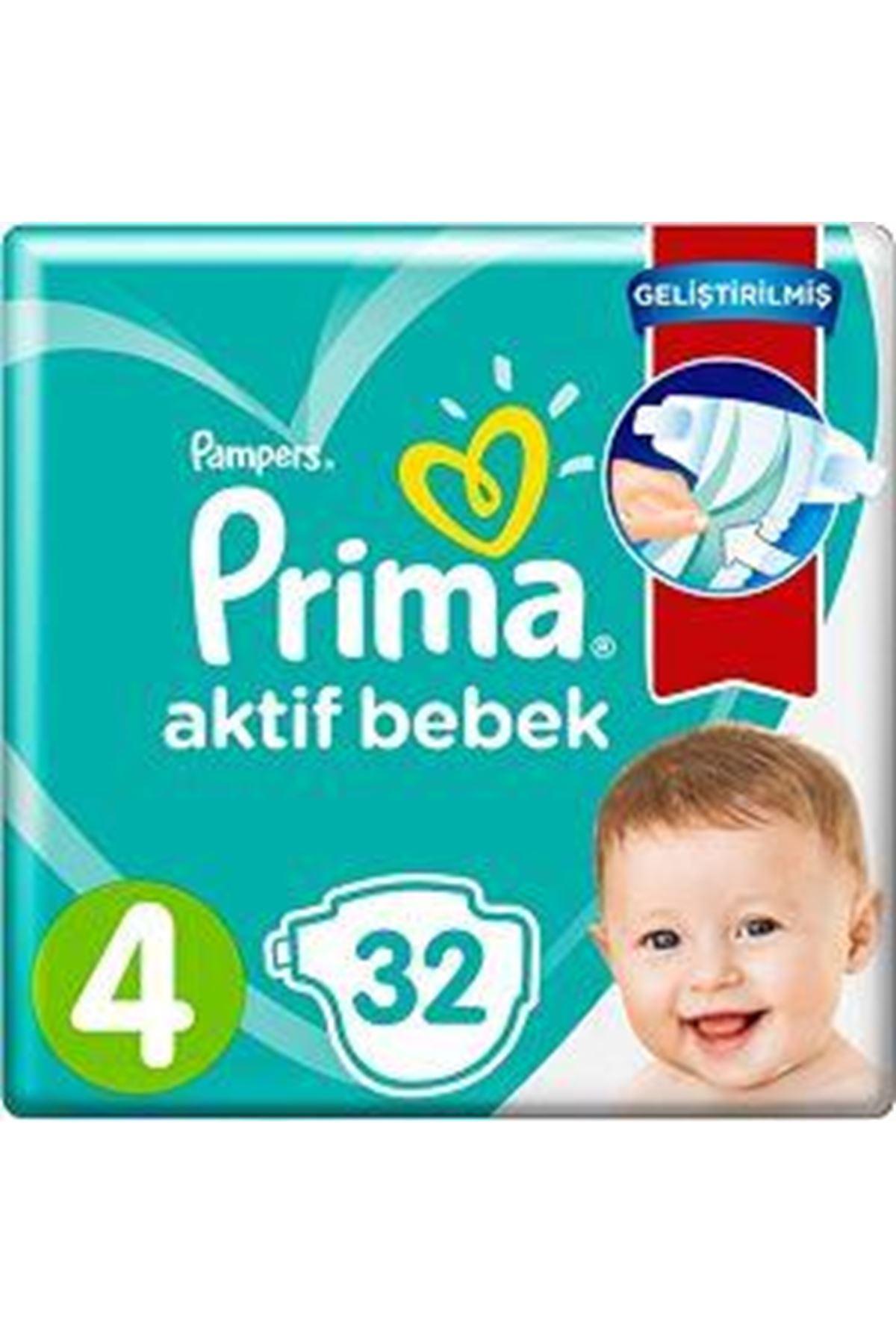 Prima Bebek Bezi Aktif Bebek Standart Paket 4 Beden 32 Adet