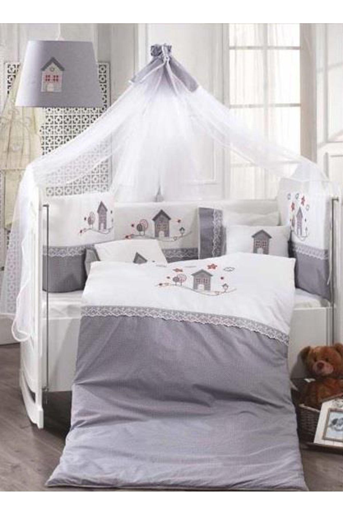 Momi Shop Küçük Ev Bebek Beşik Uyku Seti Gri