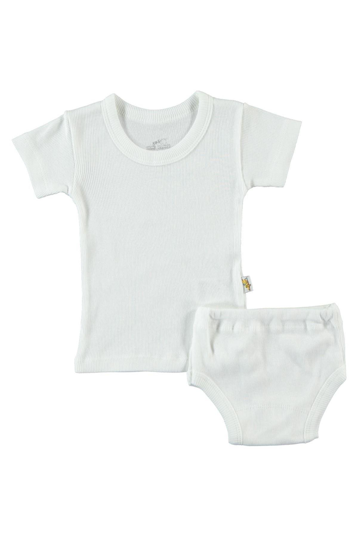 Albimini Minidamla Kaşkorse Bebe Kısa Kol Çamaşır Takımı 42769 Ekru