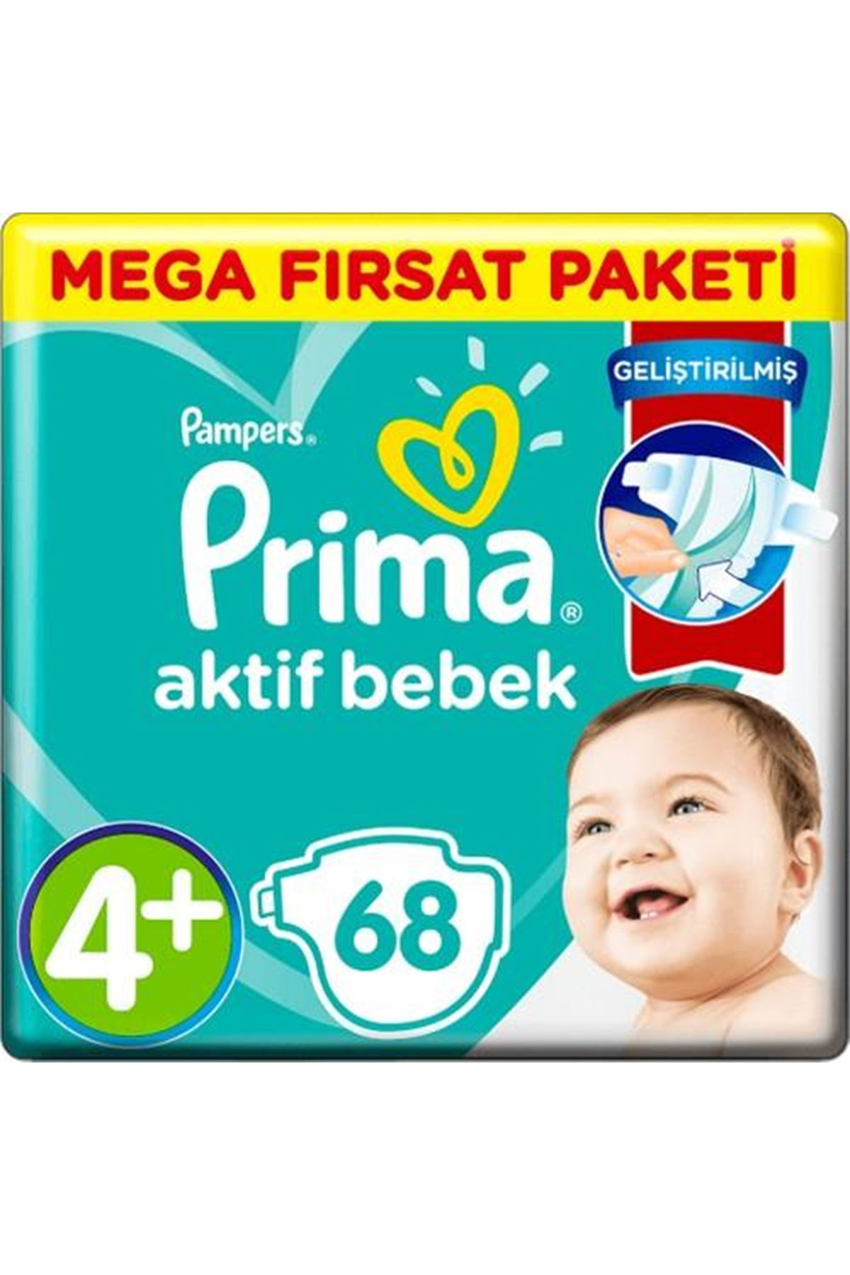 Prima Bebek Bezi Aktif Bebek Mega Fırsat Paketi 4+ Beden 68 Adet