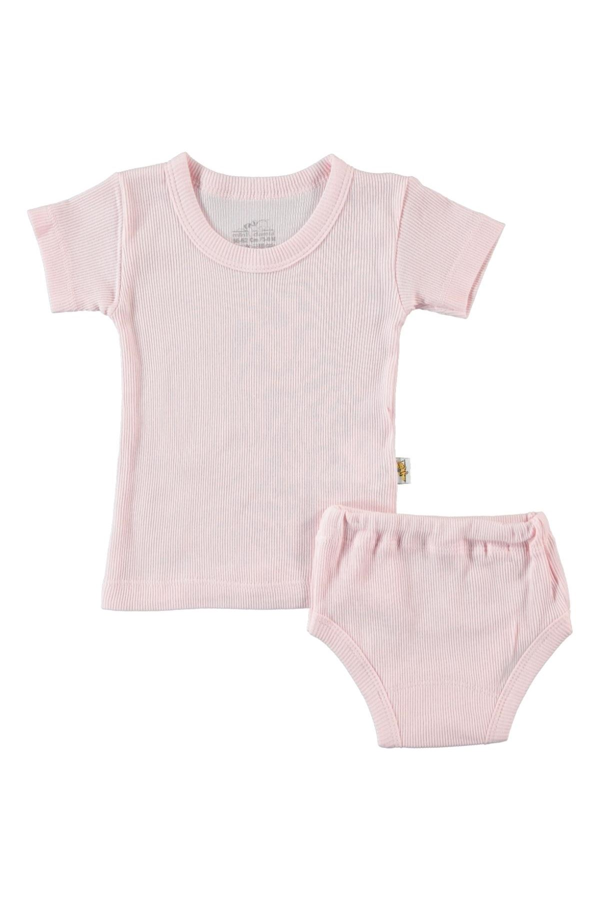 Albimini Minidamla Kaşkorse Bebe Kısa Kol Çamaşır Takımı 42769 Pembe