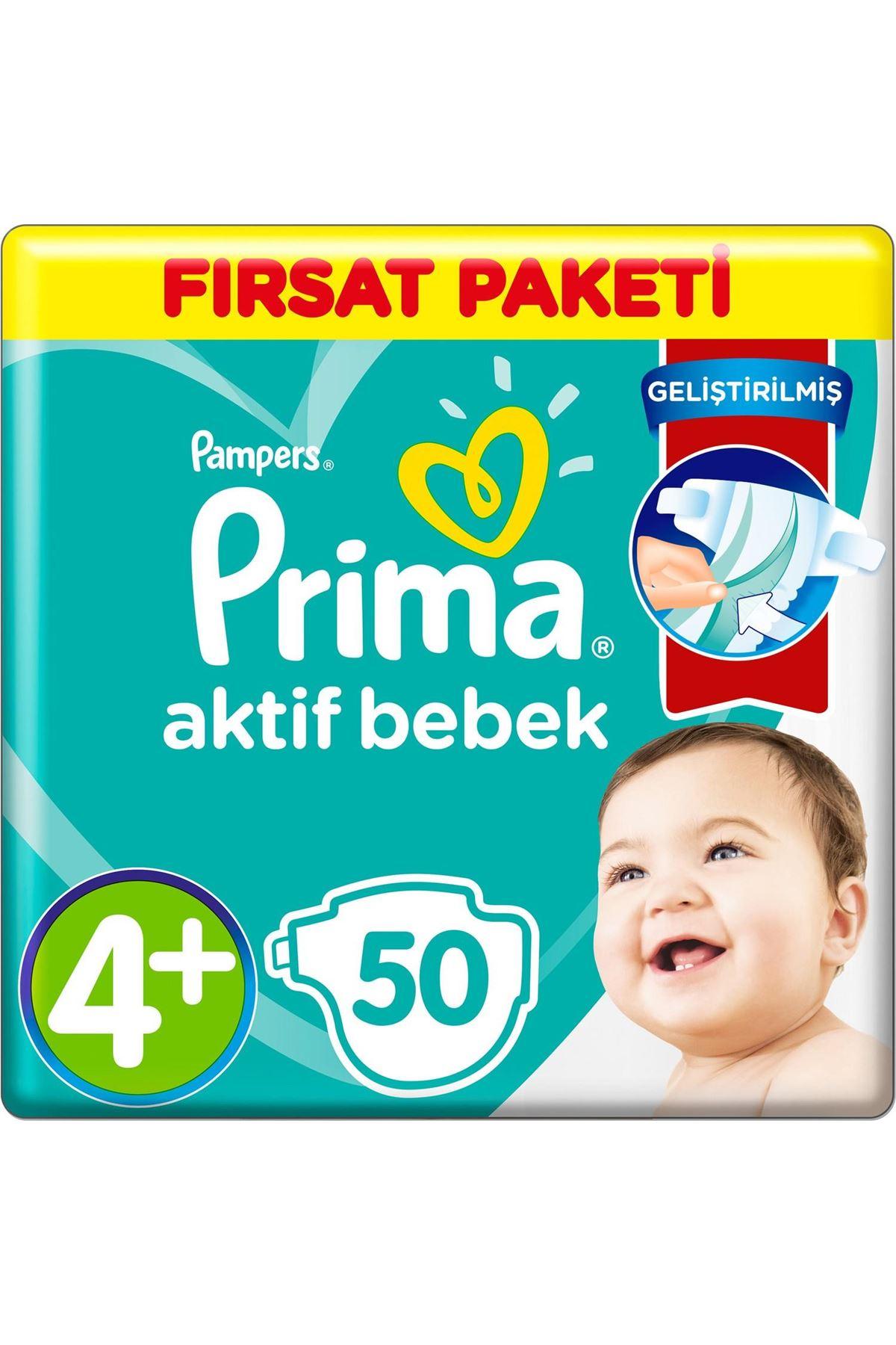 Prima Bebek Bezi Aktif Bebek Fırsat Paketi 4+ Beden 50 Adet
