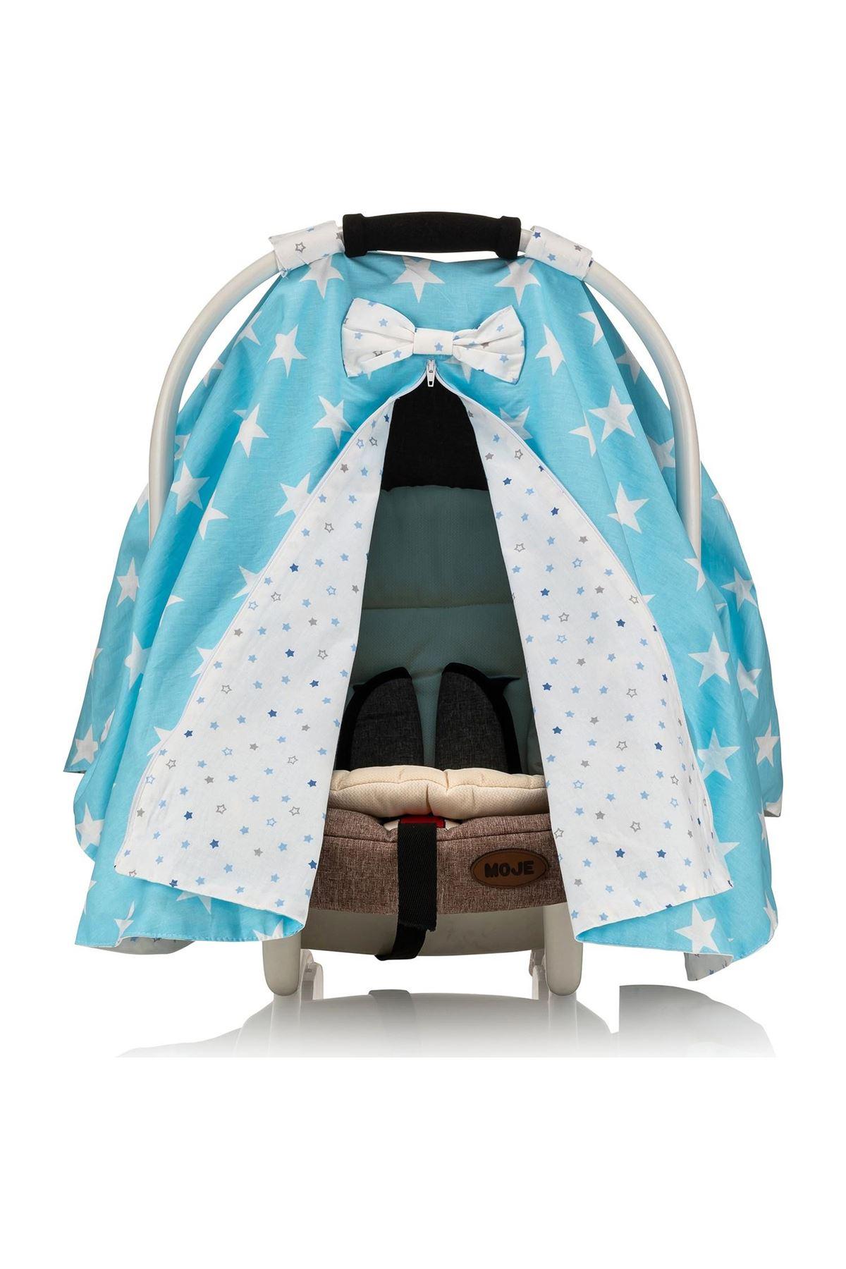Moje Poplin Puset Bebek Arabası Örtüsü Mavi Yıldız