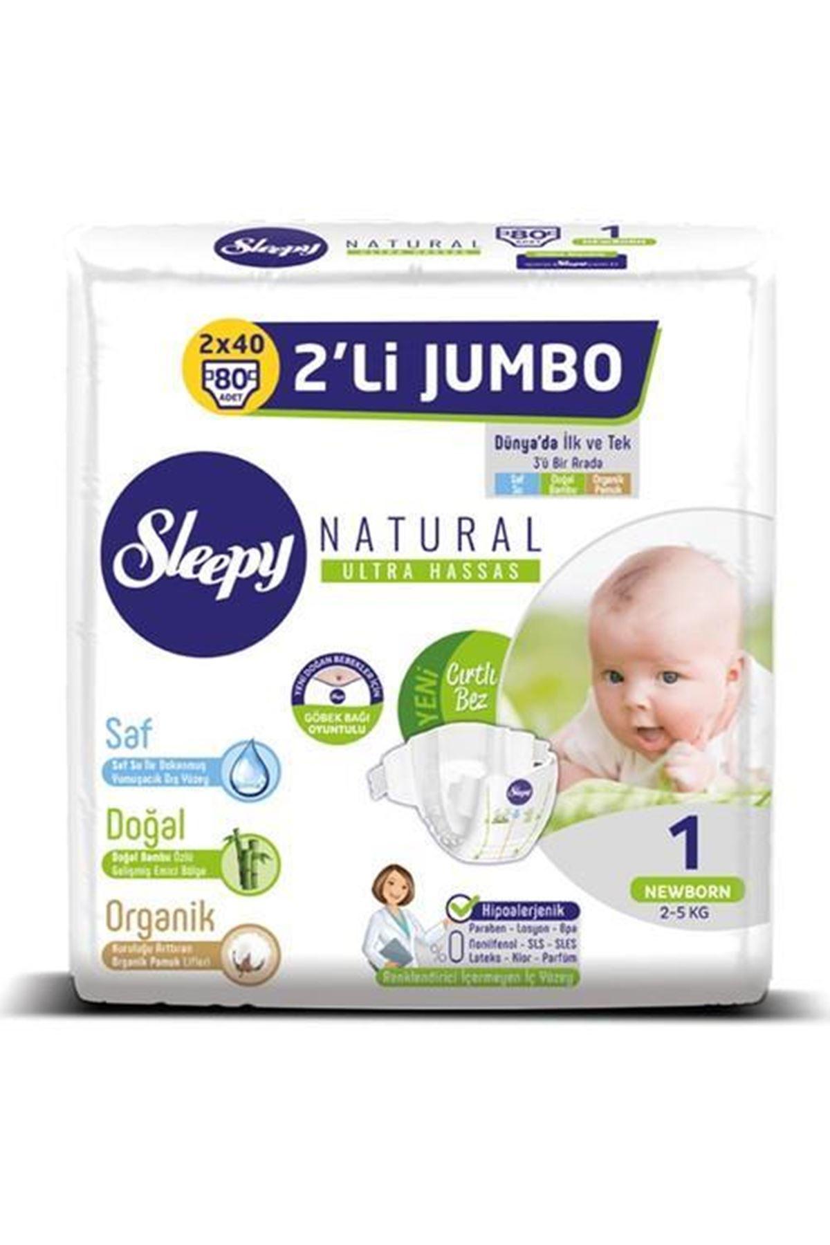 Sleepy Natural Bebek Bezi 2li Jumbo 1 Beden 2-5 Kg 80 Adet