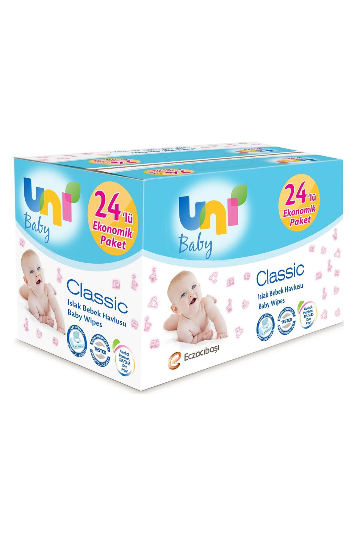 Uni Baby Classic Islak Temizleme Mendili 24'lü Avantaj Paketi