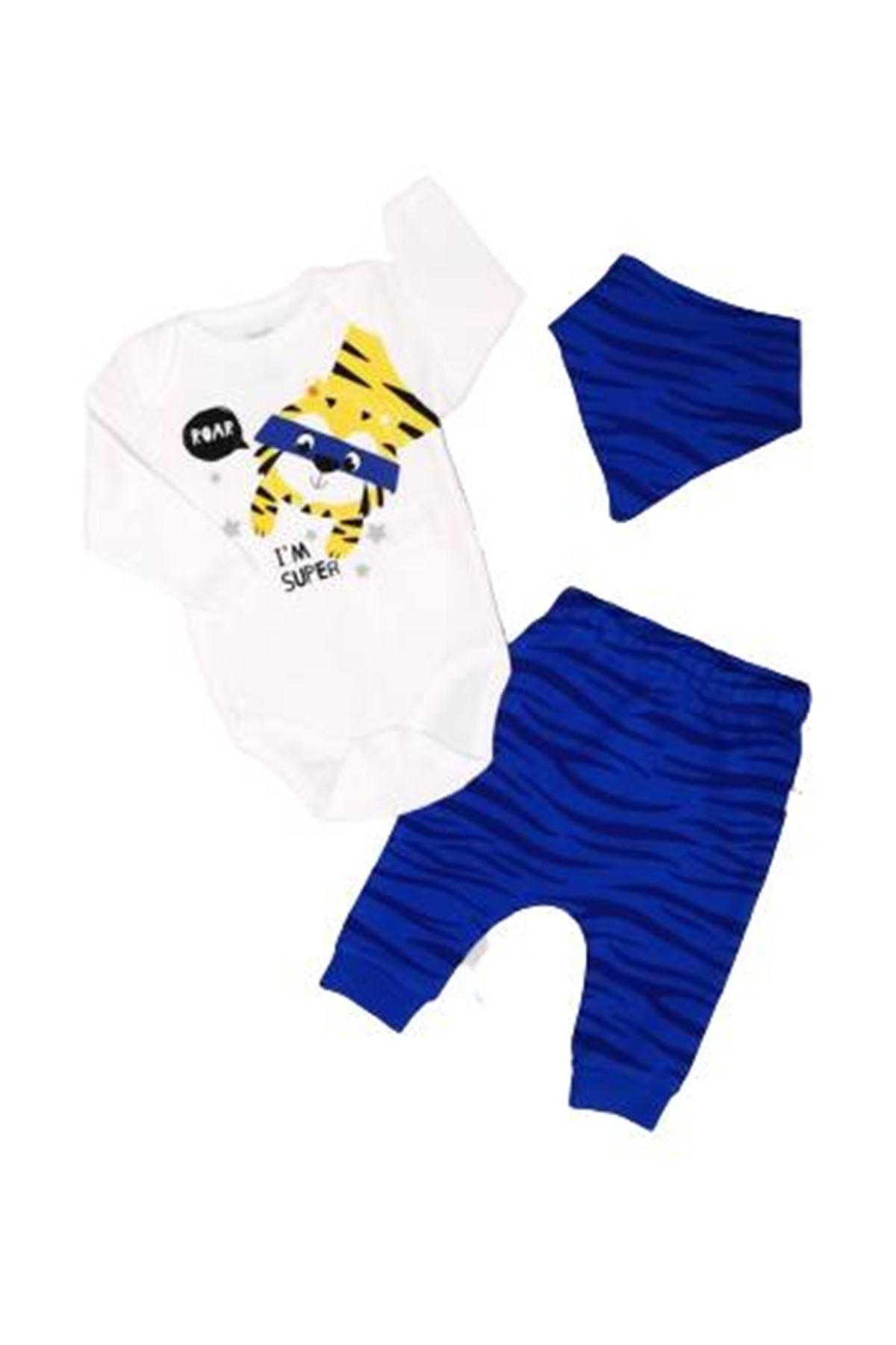 İmaj Time Baby Tiger Erkek 3lü Bebe Takım 3092 Saks Mavi