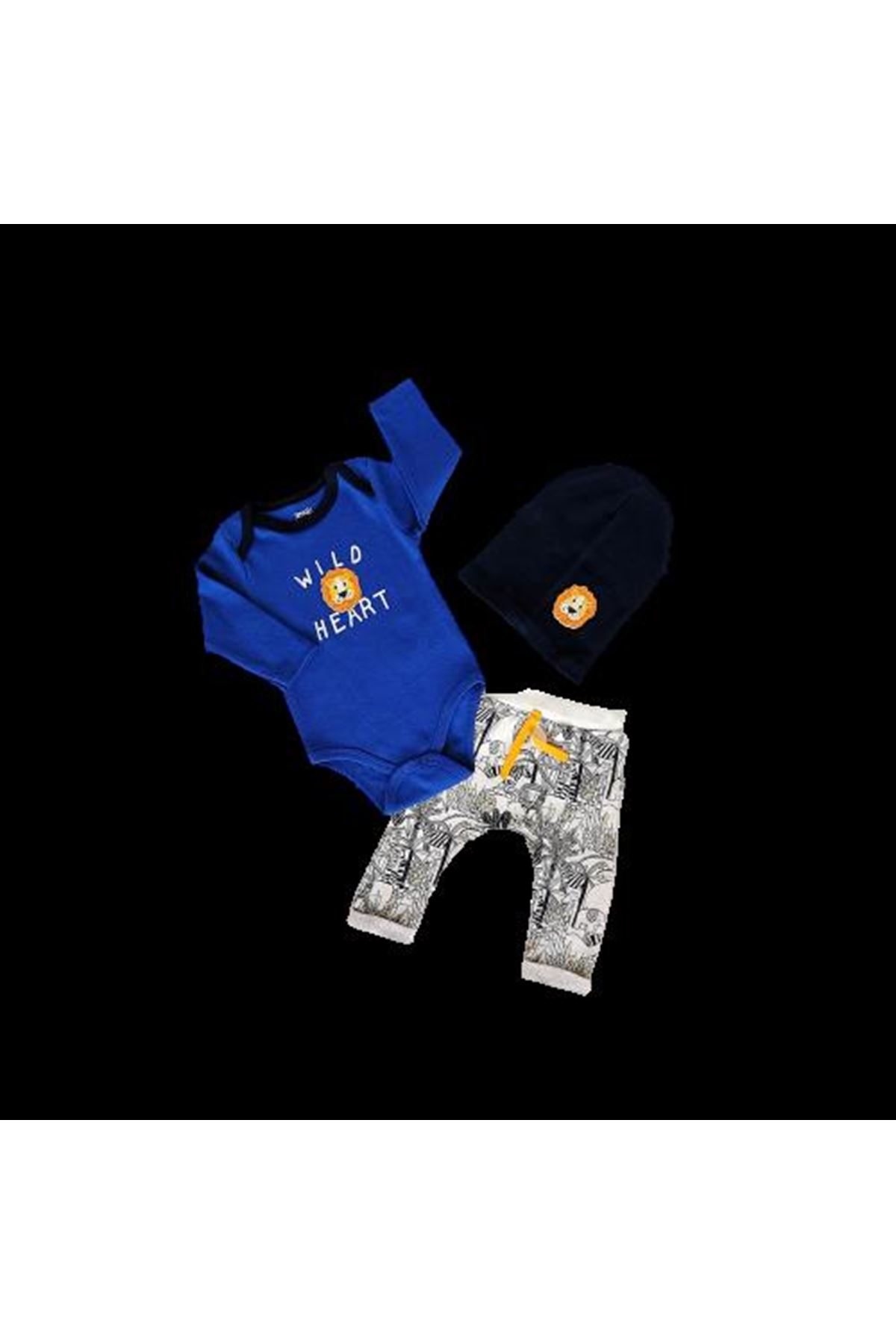 İmaj Time Ay Lion Erkek Bodyli 3lü Takım 3067 Saks Mavi