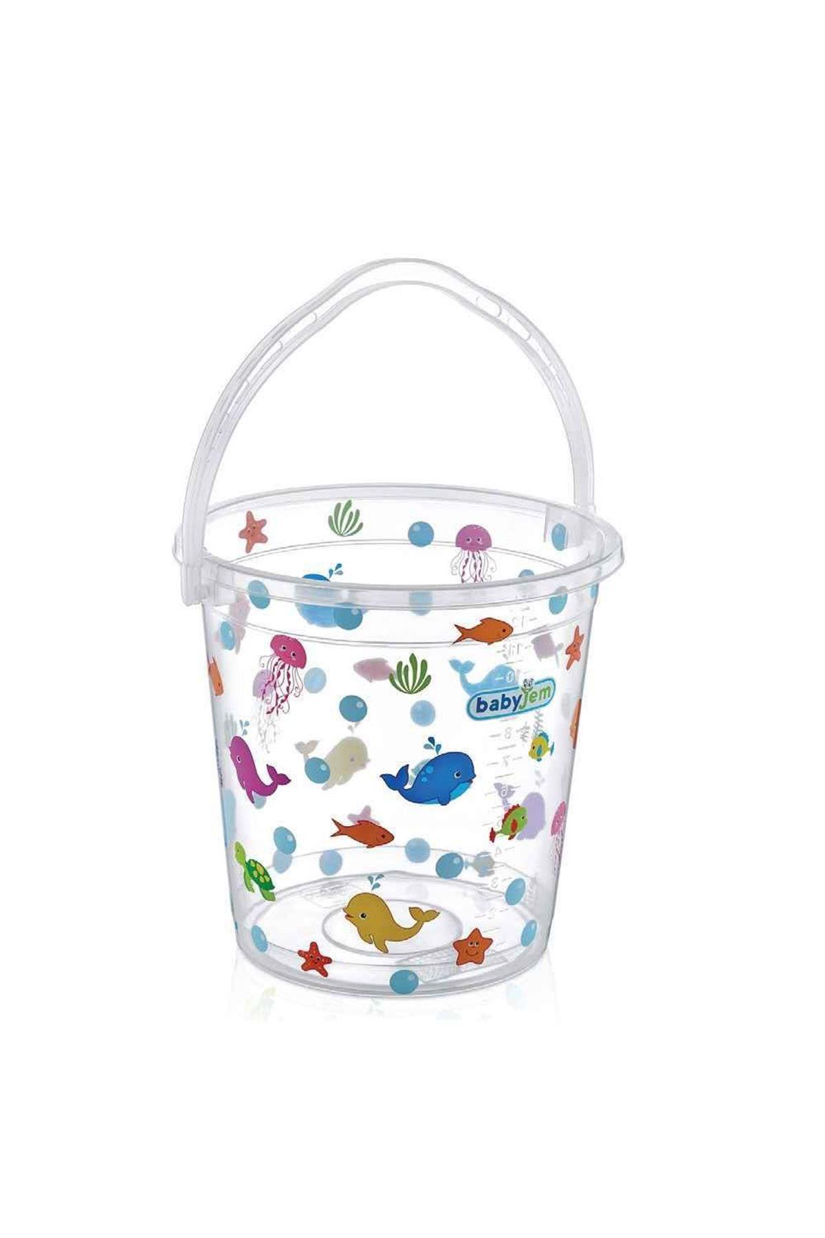 BabyJem Bebek Banyo Kovası Şeffaf Desenli 399 Beyaz