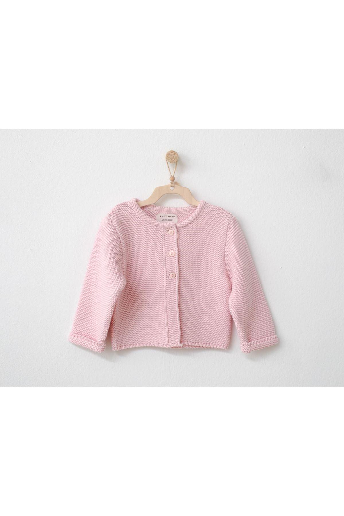Andywawa AC21256 Knitwear Basic Bebek Ceket Pink