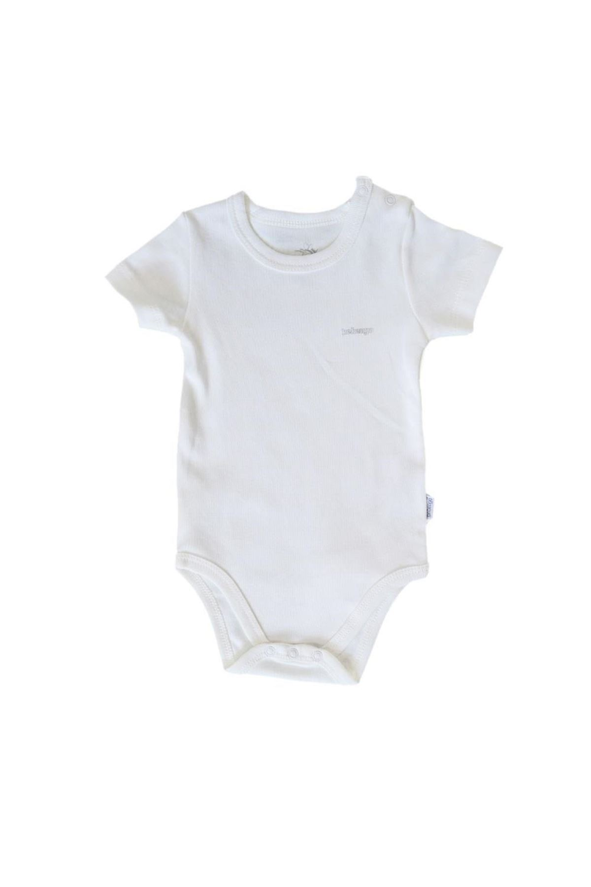 Bebengo Basıc Kısa Kol Bebe Body 4021 Ekru