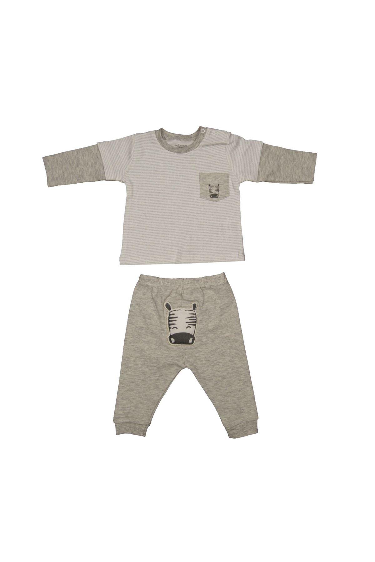 Andywawa AC21012 ZZZ Zebra 2li Bebe Takım Grey Melange