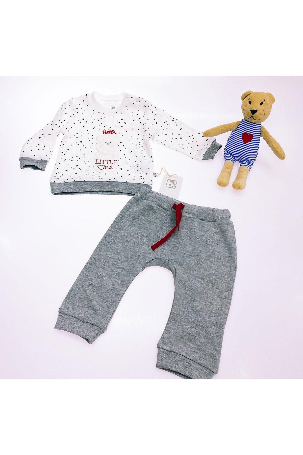Bibaby Hello Bear 2li Bebe Takım 59618 Gri Melanj