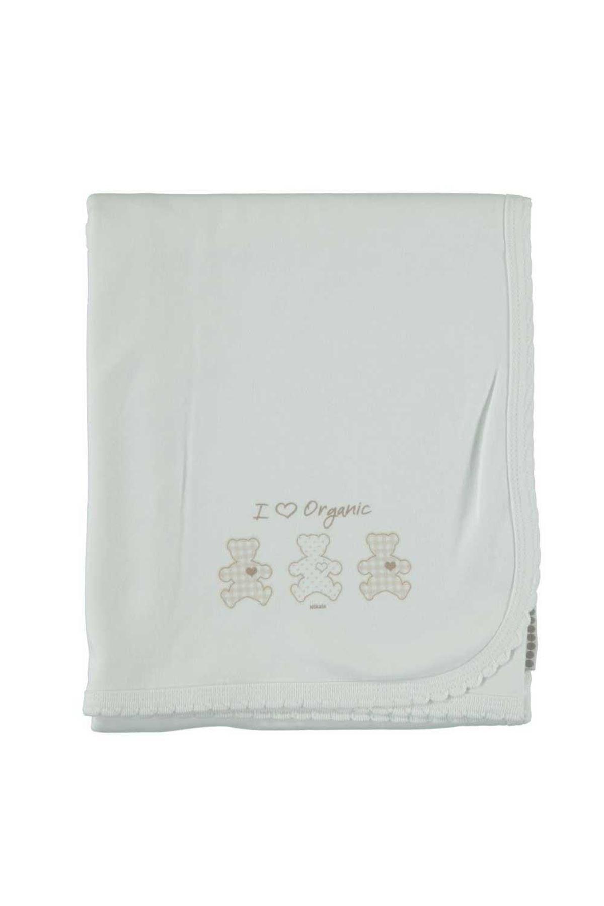 KitiKate Organik Basic Çift Katlı Penye Battaniye 75998 Beyaz