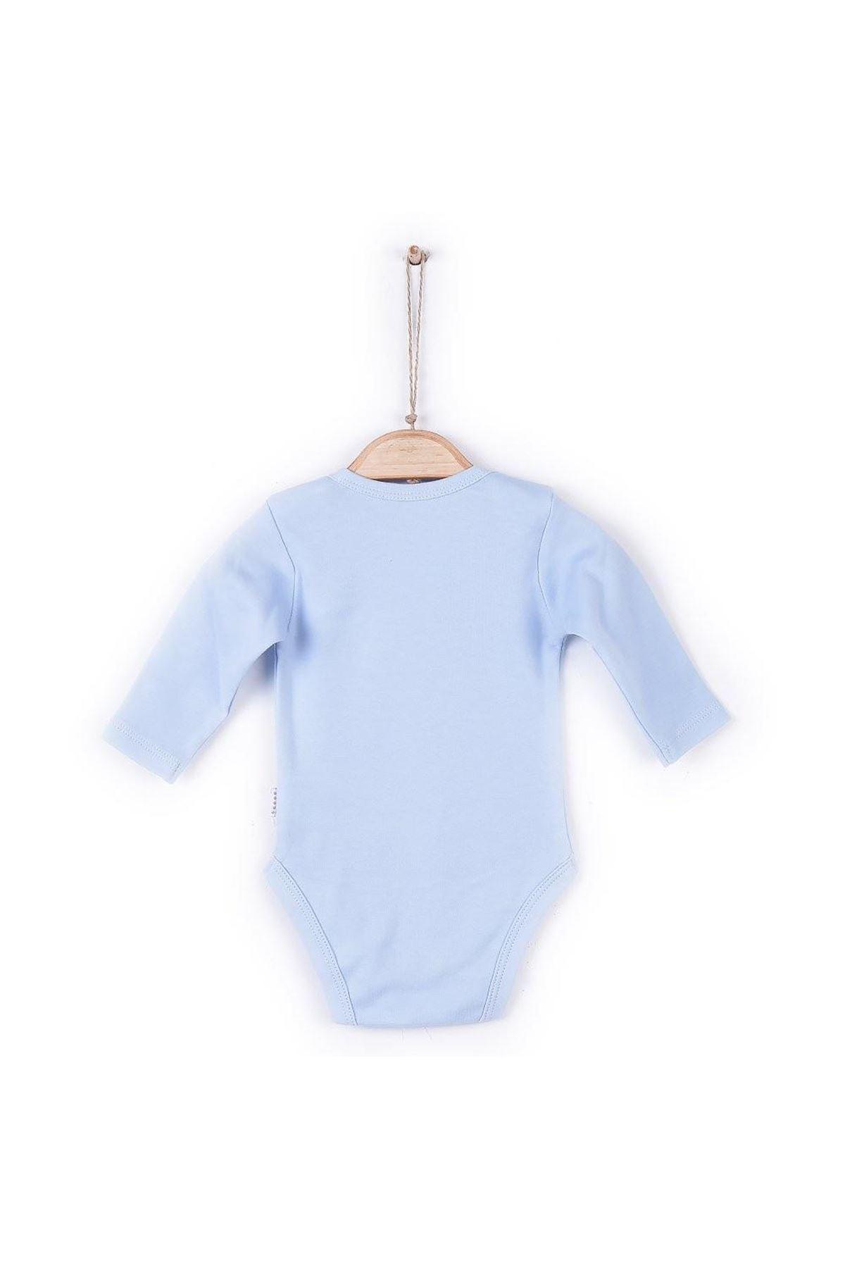 KitiKate Organik Uzun Kol Amerikan Yaka Body 57195 Mavi