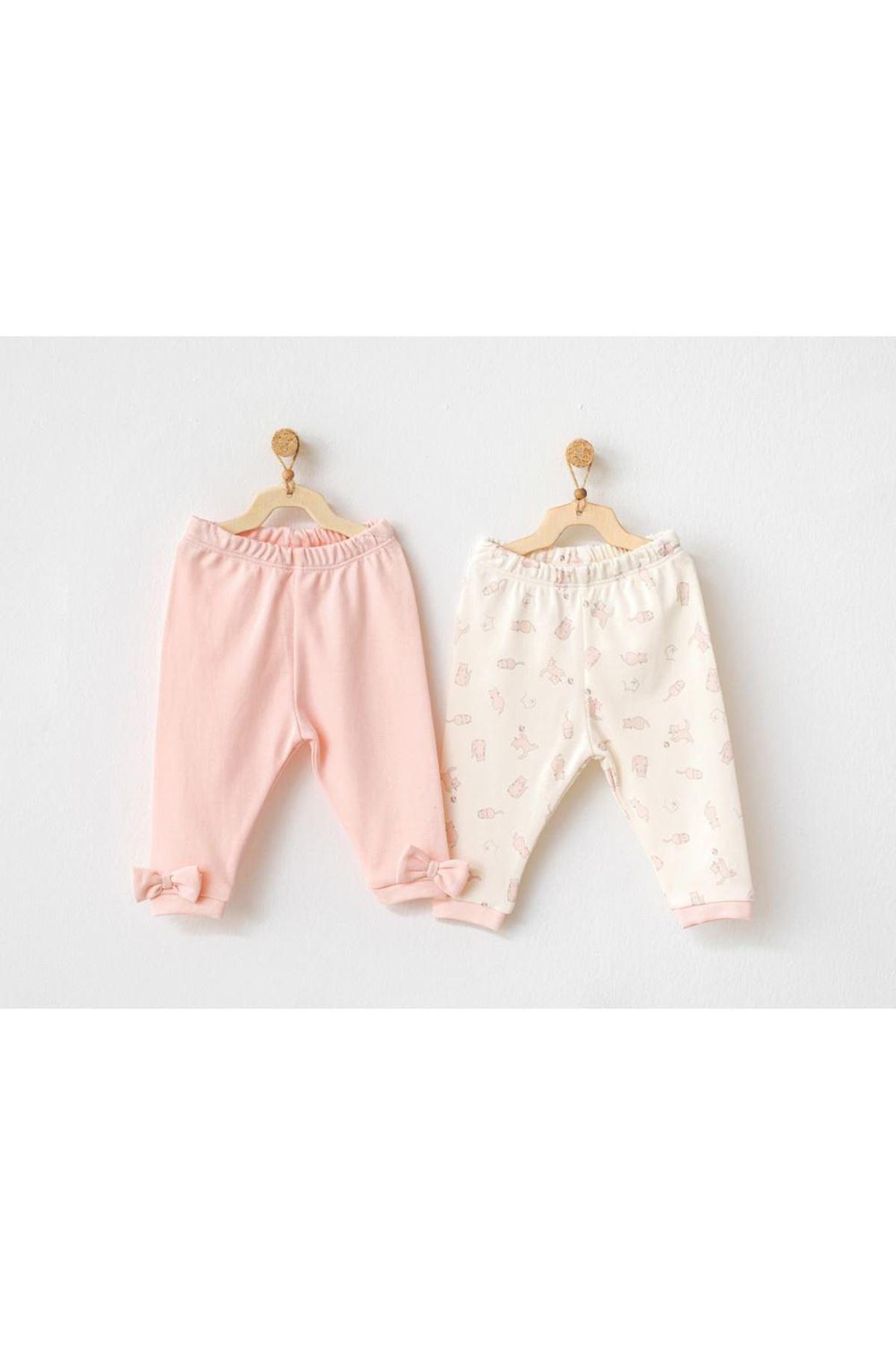 Andywawa AC21107 Meow 2li Bebek Pantolon Pink
