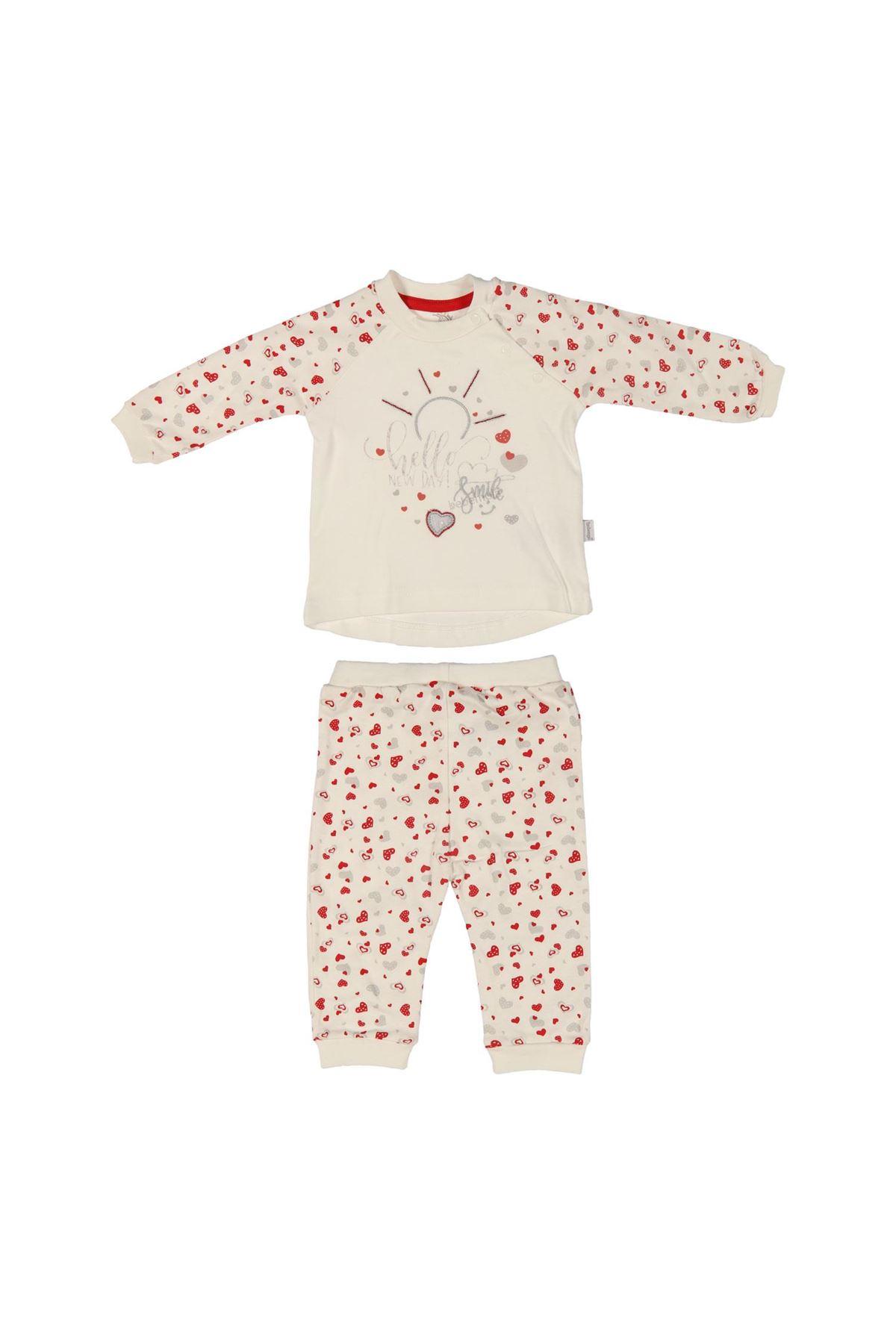 Bebengo 5035 Kalp Çiçekli Bebe Takım Ekru