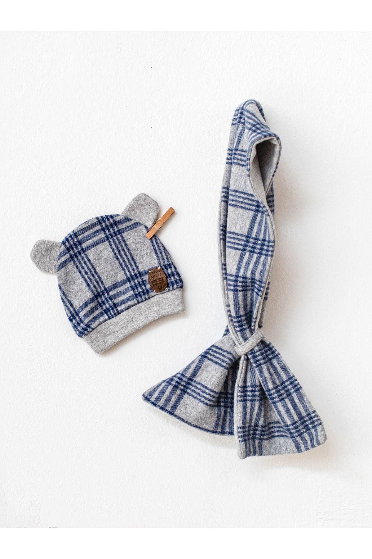 Andywawa AC21166 Awesome Bebek Şapka Atkı Seti NAVY