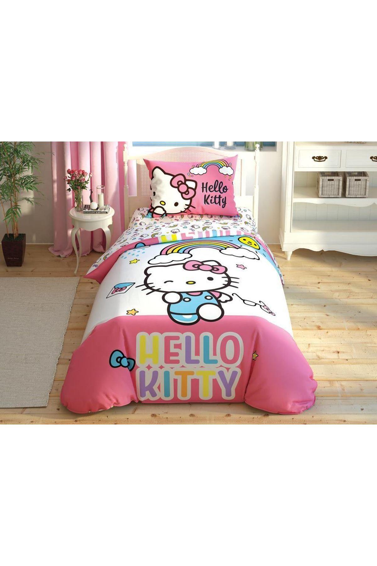 Taç Lisanslı Nevresim Takımı Tek Kişilik Hello Kitty Rainbow